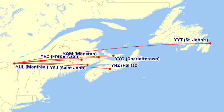 Air Canada flights from Montreal to Atlantic Canada