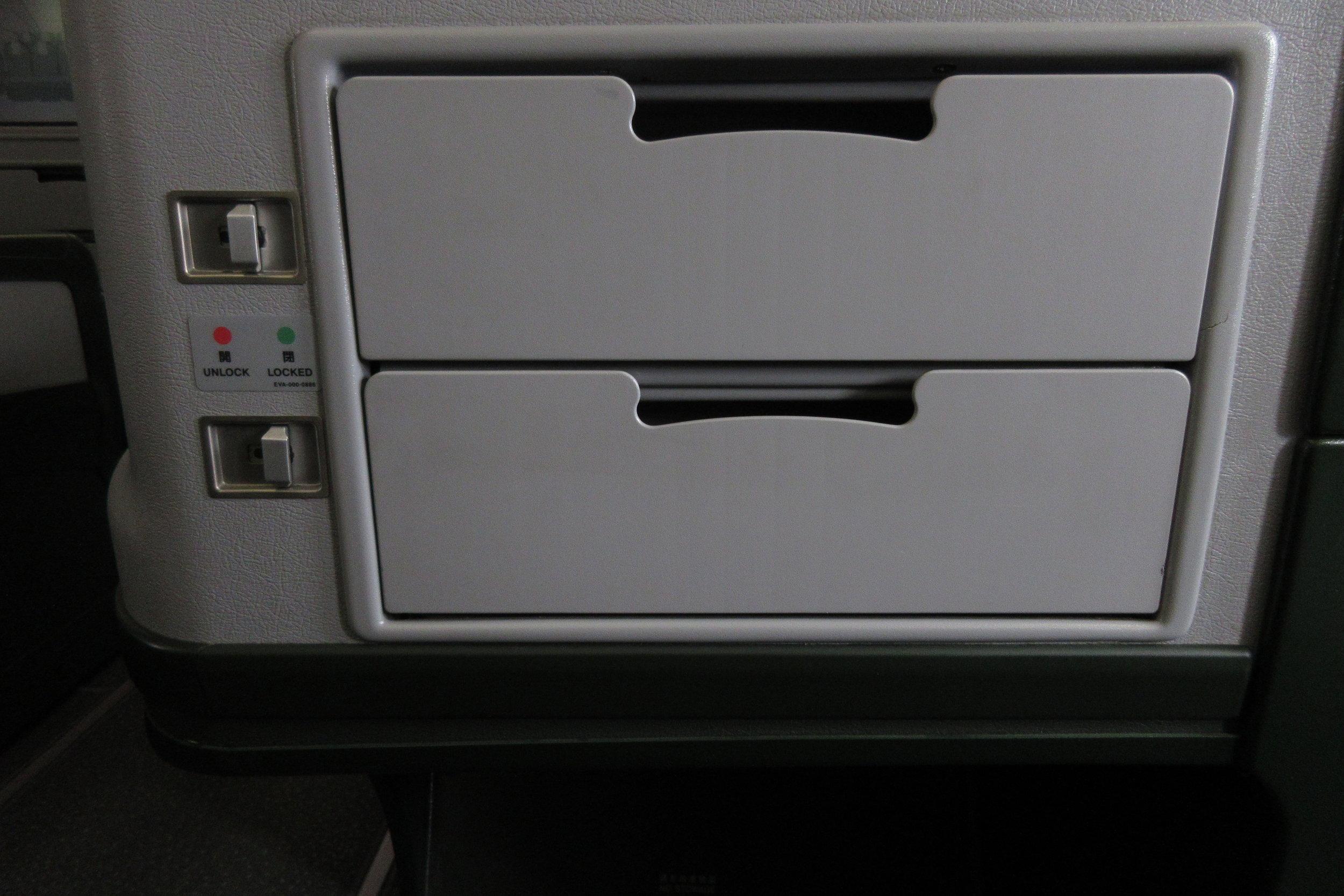 EVA Air regional business class – Storage compartments
