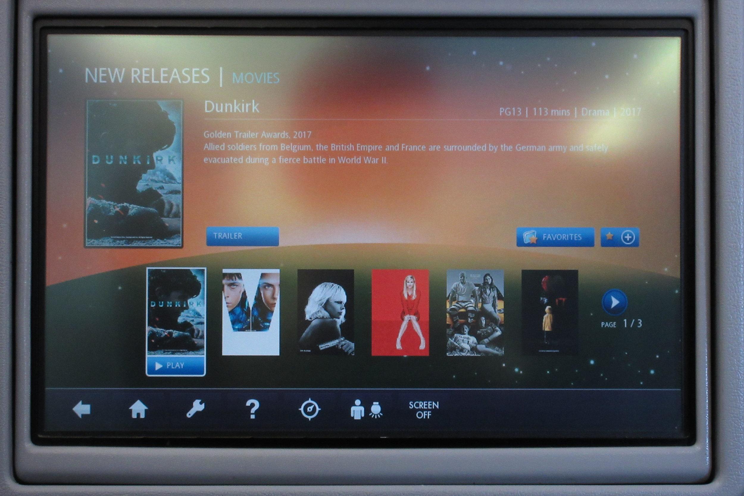 EVA Air regional business class – Movie selection