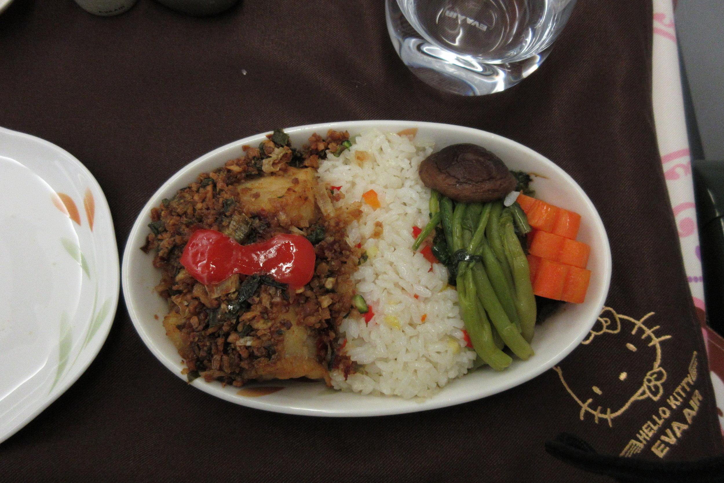 EVA Air regional business class – Wok fried cod