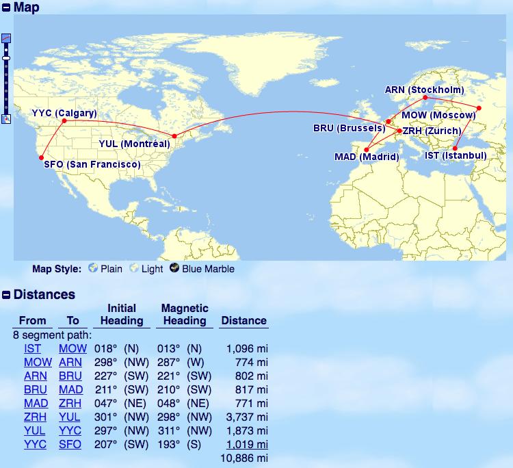 Istanbul to Calgary to San Francisco
