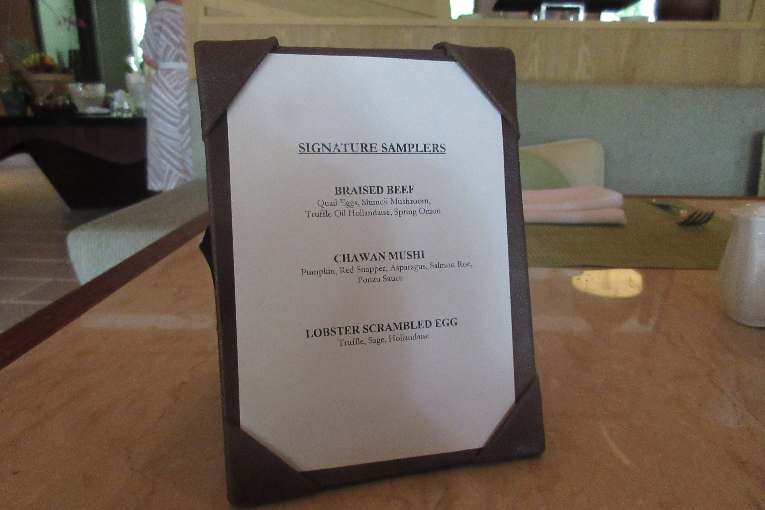The Ritz-Carlton, Bali – Breakfast à la carte menu