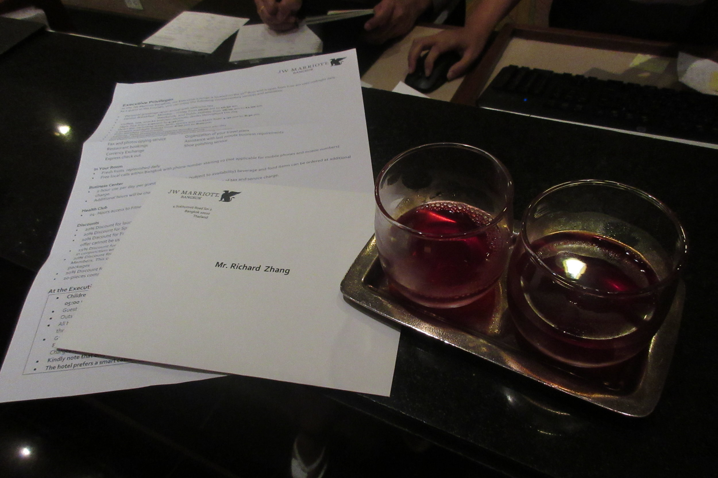 JW Marriott Bangkok – Welcome drink