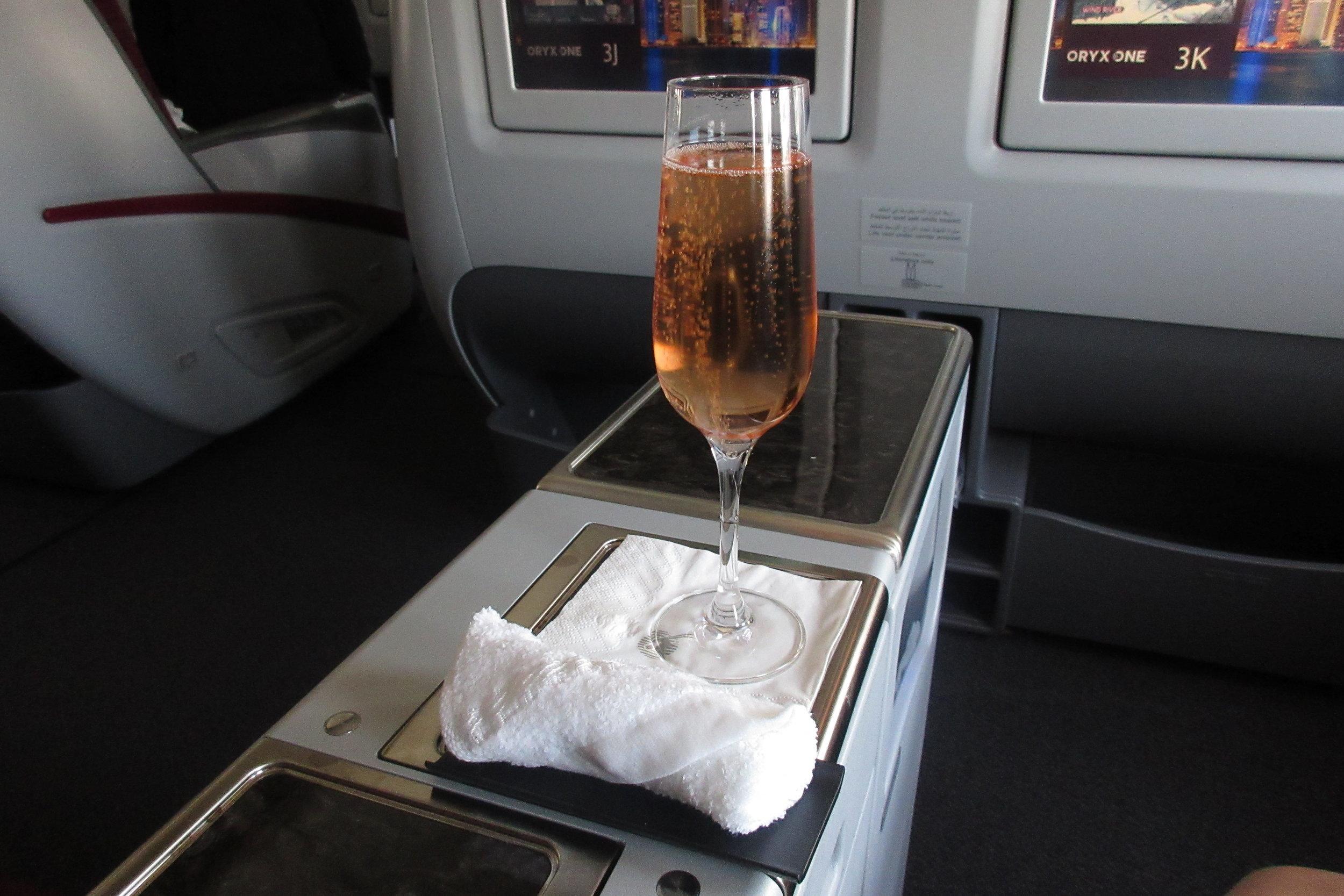 Qatar Airways 777 business class – Welcome champagne