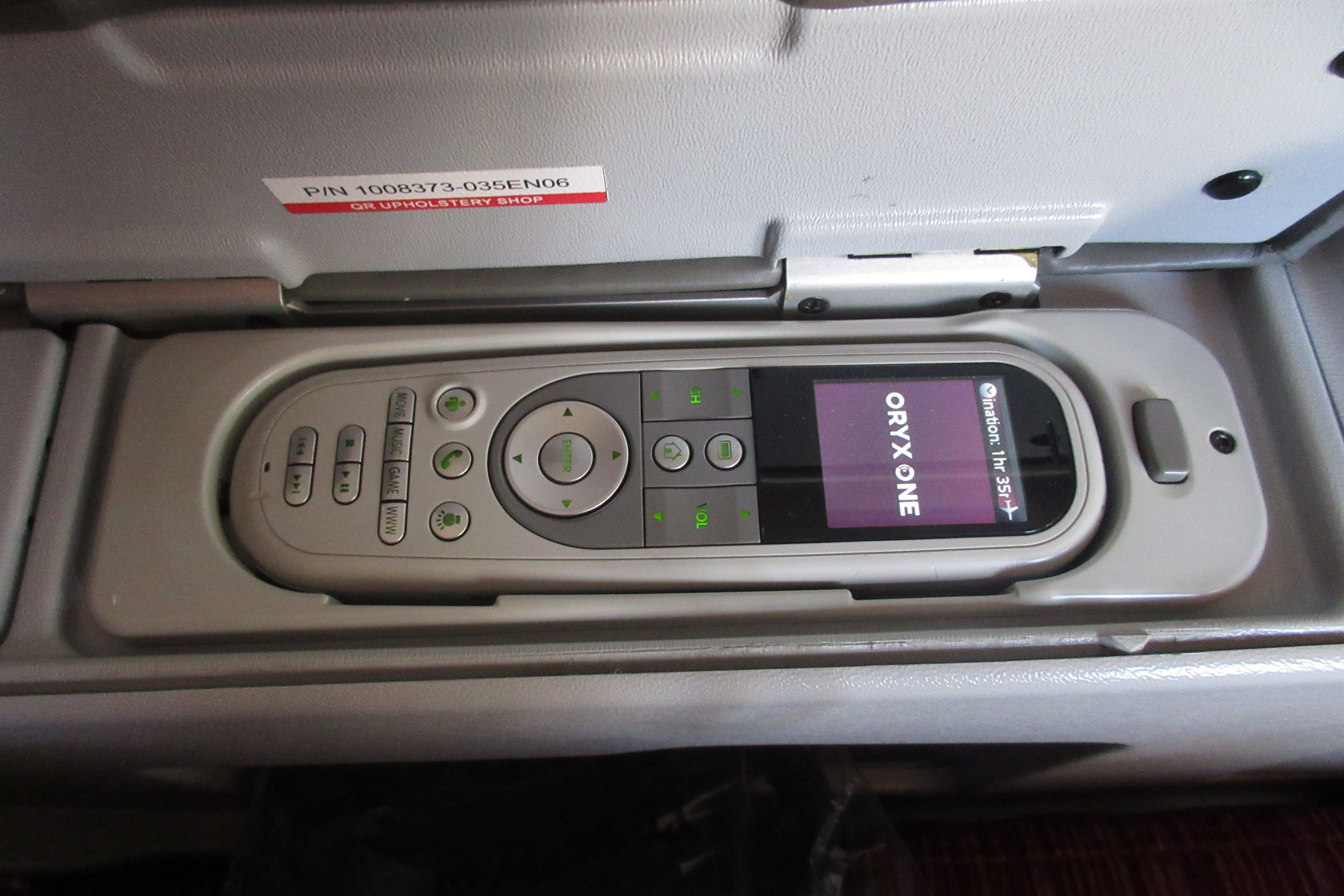 Qatar Airways 777 business class – Entertainment controls