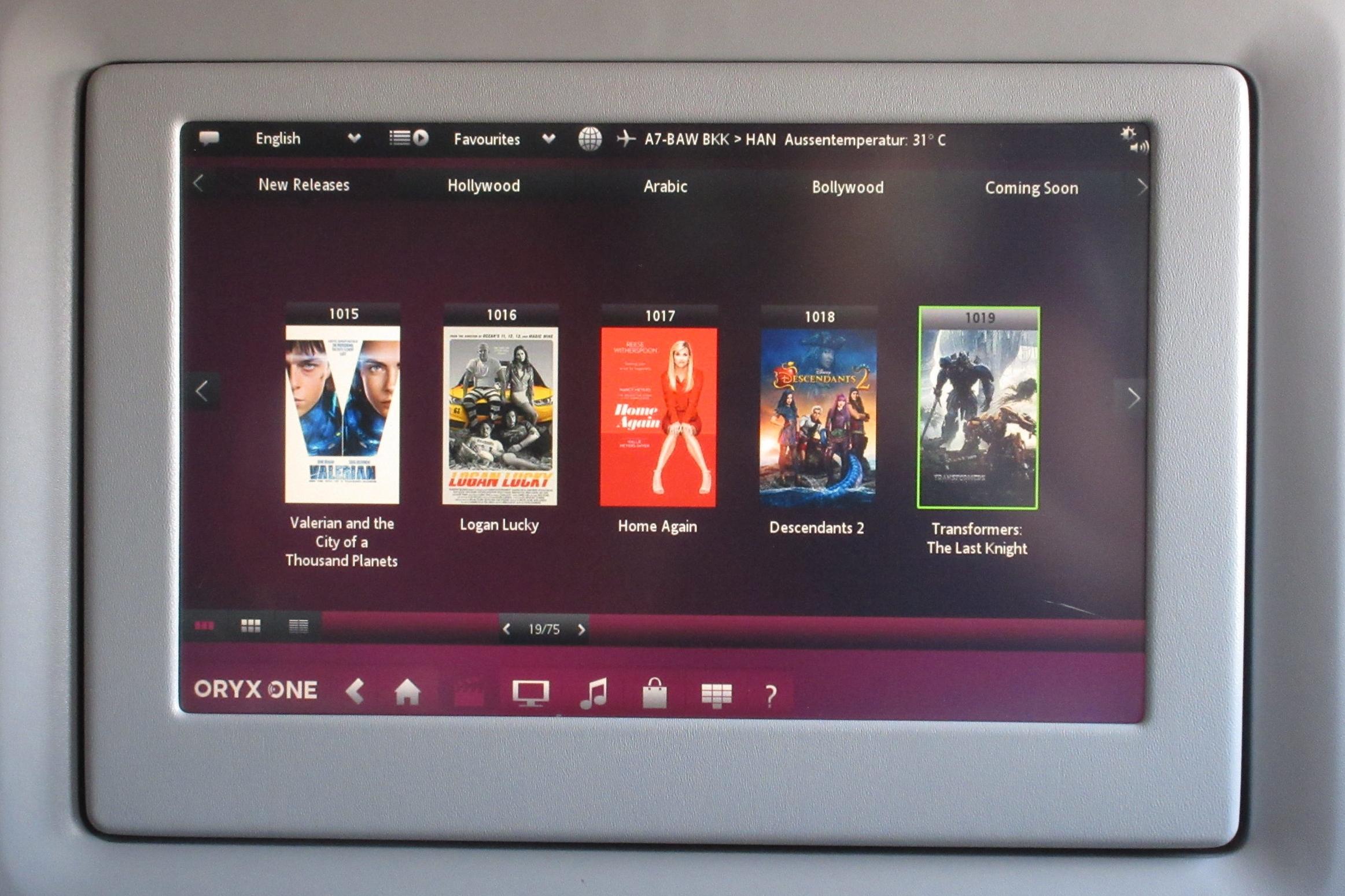 Qatar Airways 777 business class – Movie selection