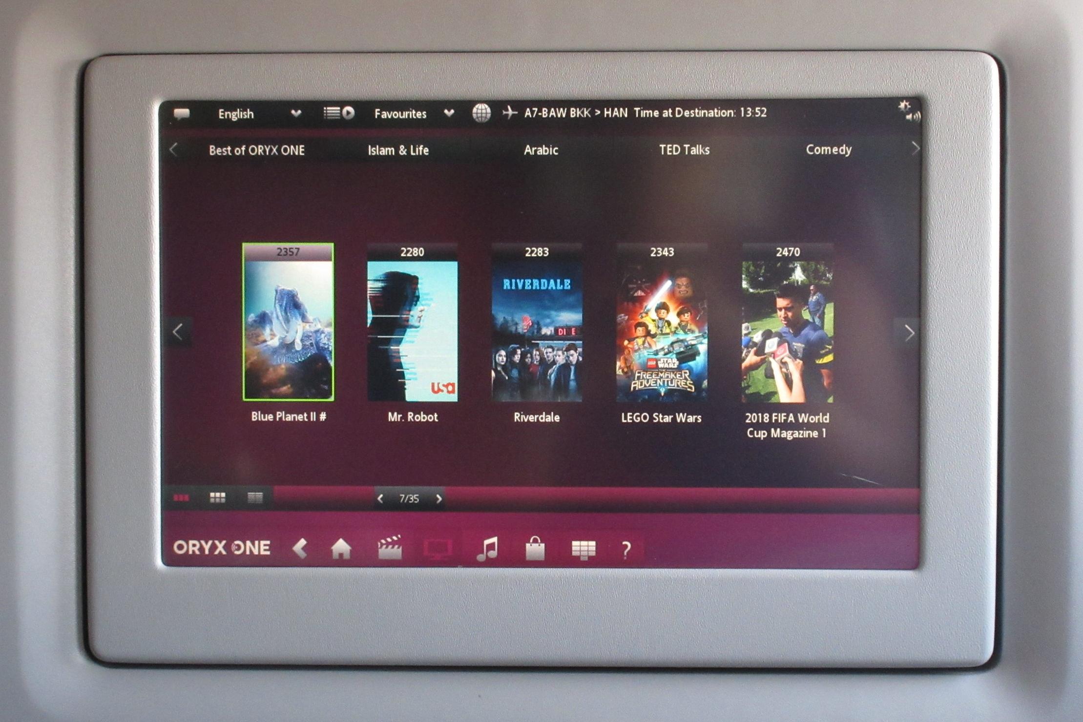 Qatar Airways 777 business class – TV selection
