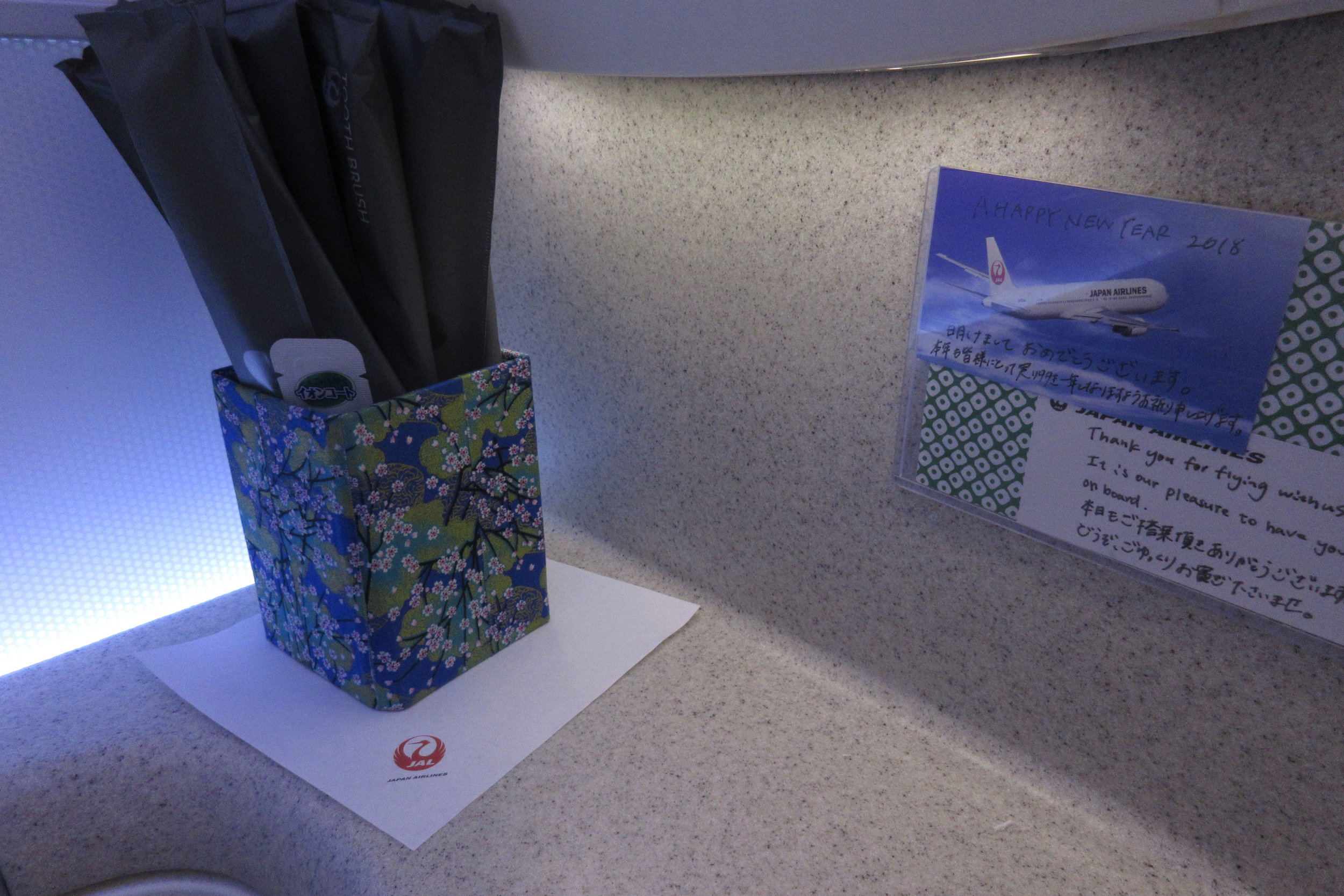 Japan Airlines business class – Amenities and handwritten note