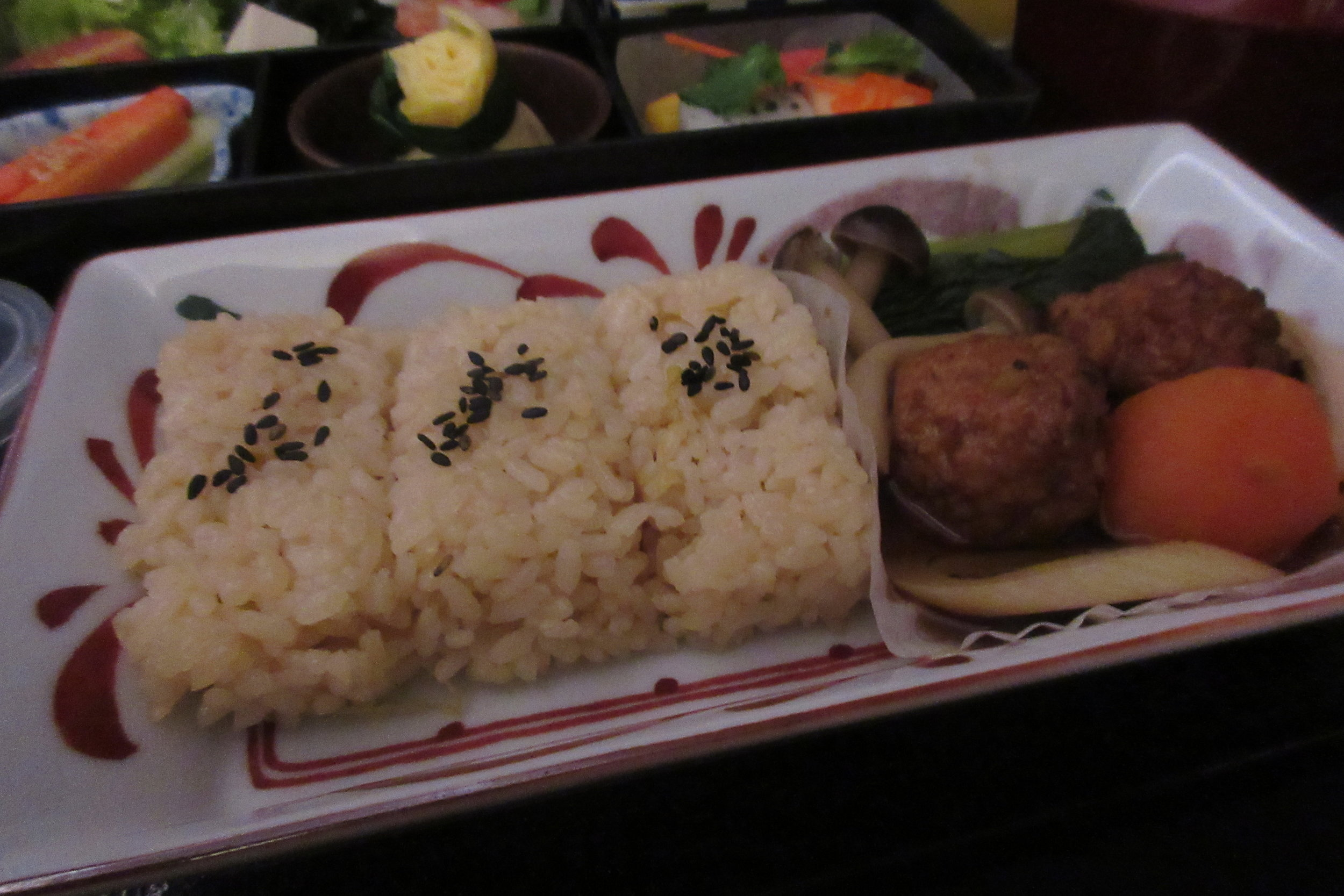 Japan Airlines business class – Chicken meatball teriyaki with rice