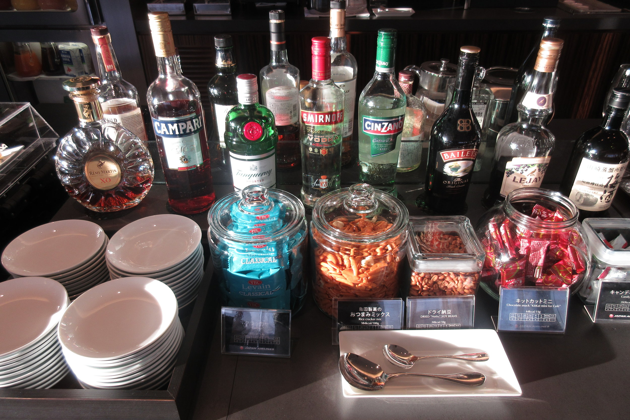 Japan Airlines First Class Lounge Tokyo Narita – Alcohol selection