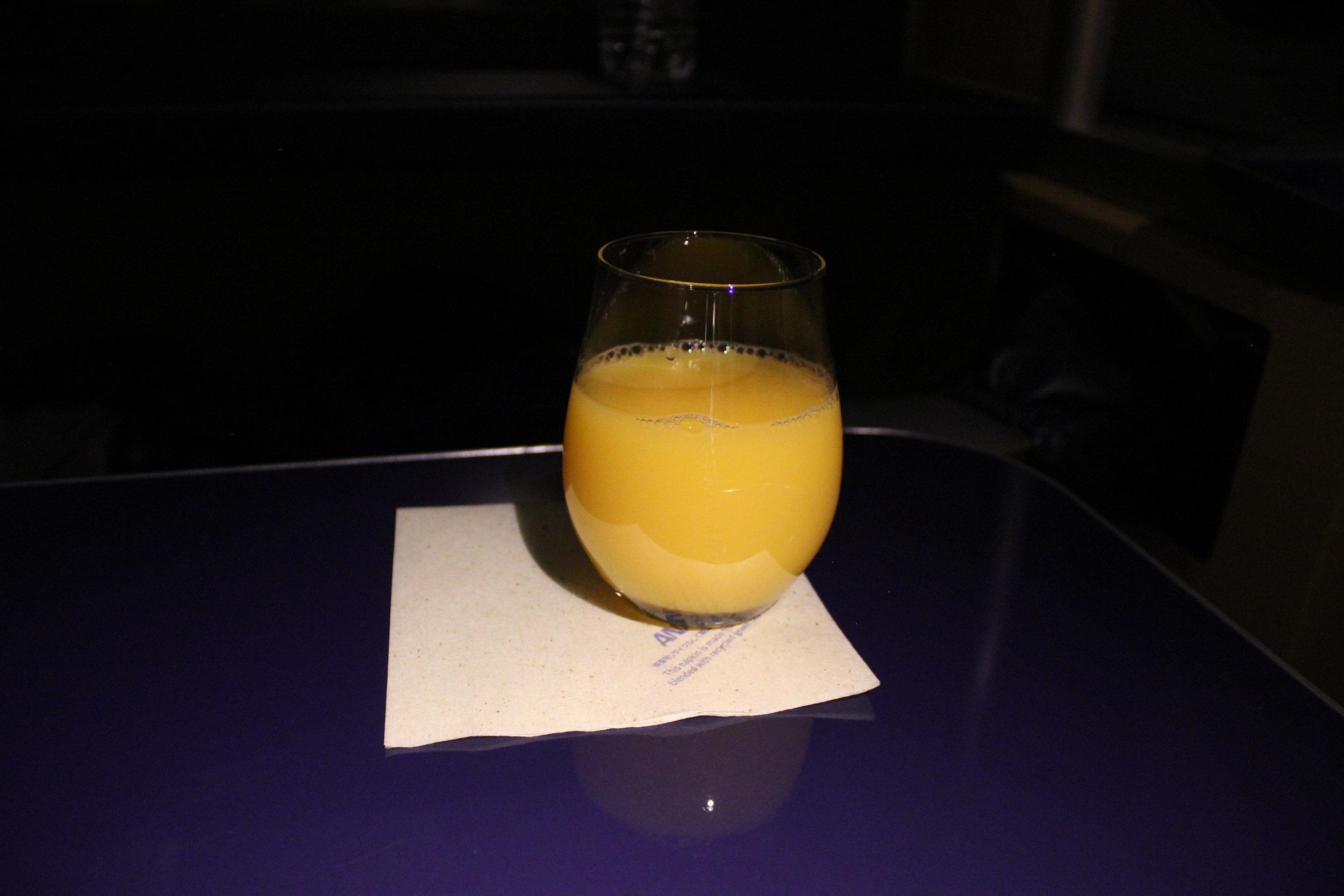 ANA First Class – Orange juice