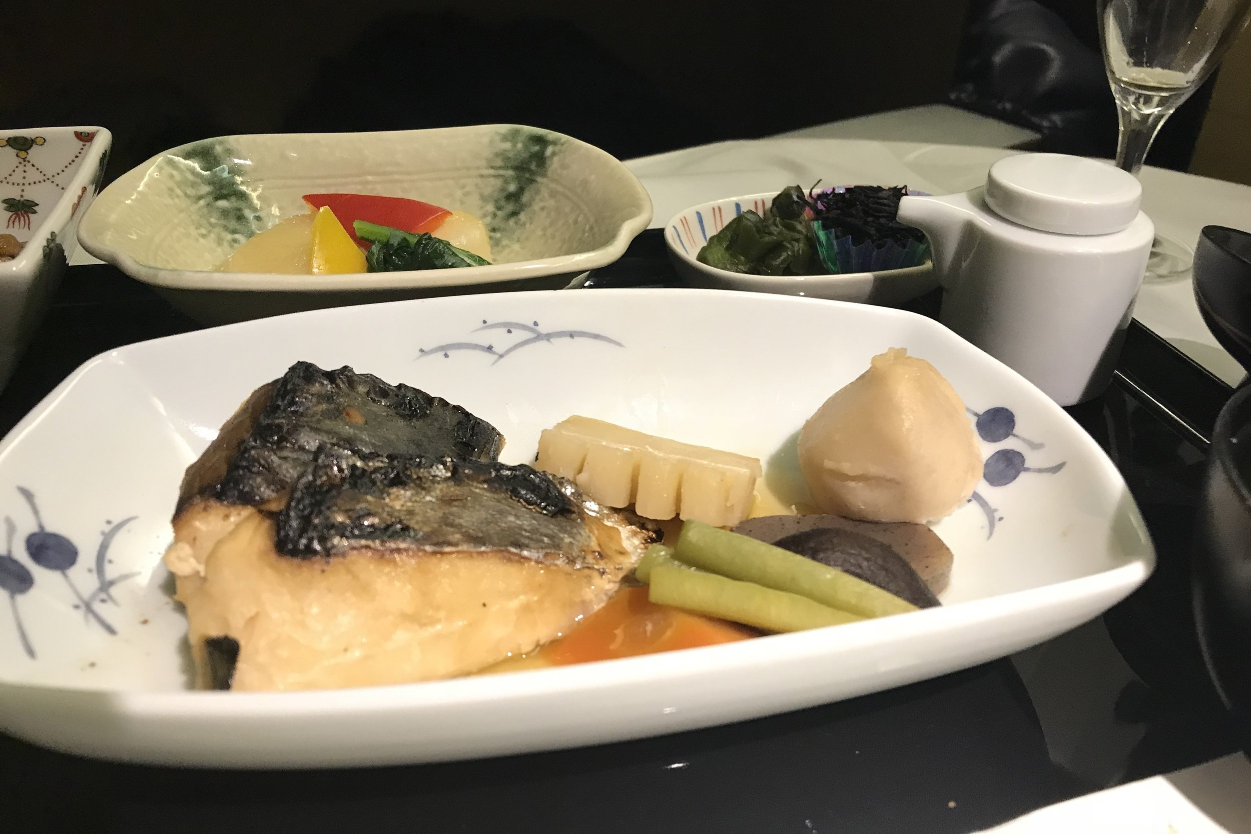 ANA First Class – Miso-grilled Spanish mackerel