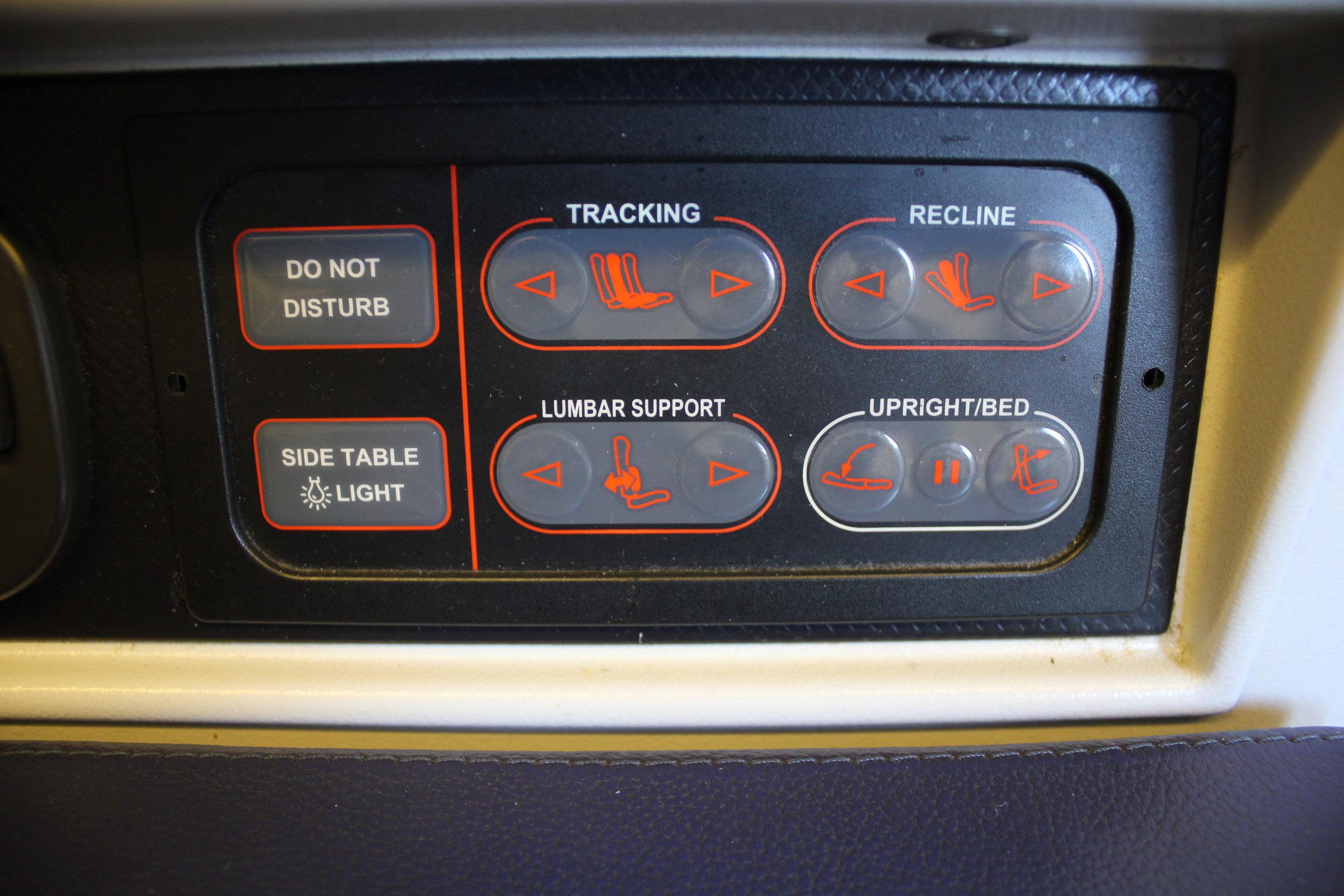 ANA 777 business class – Seat controls