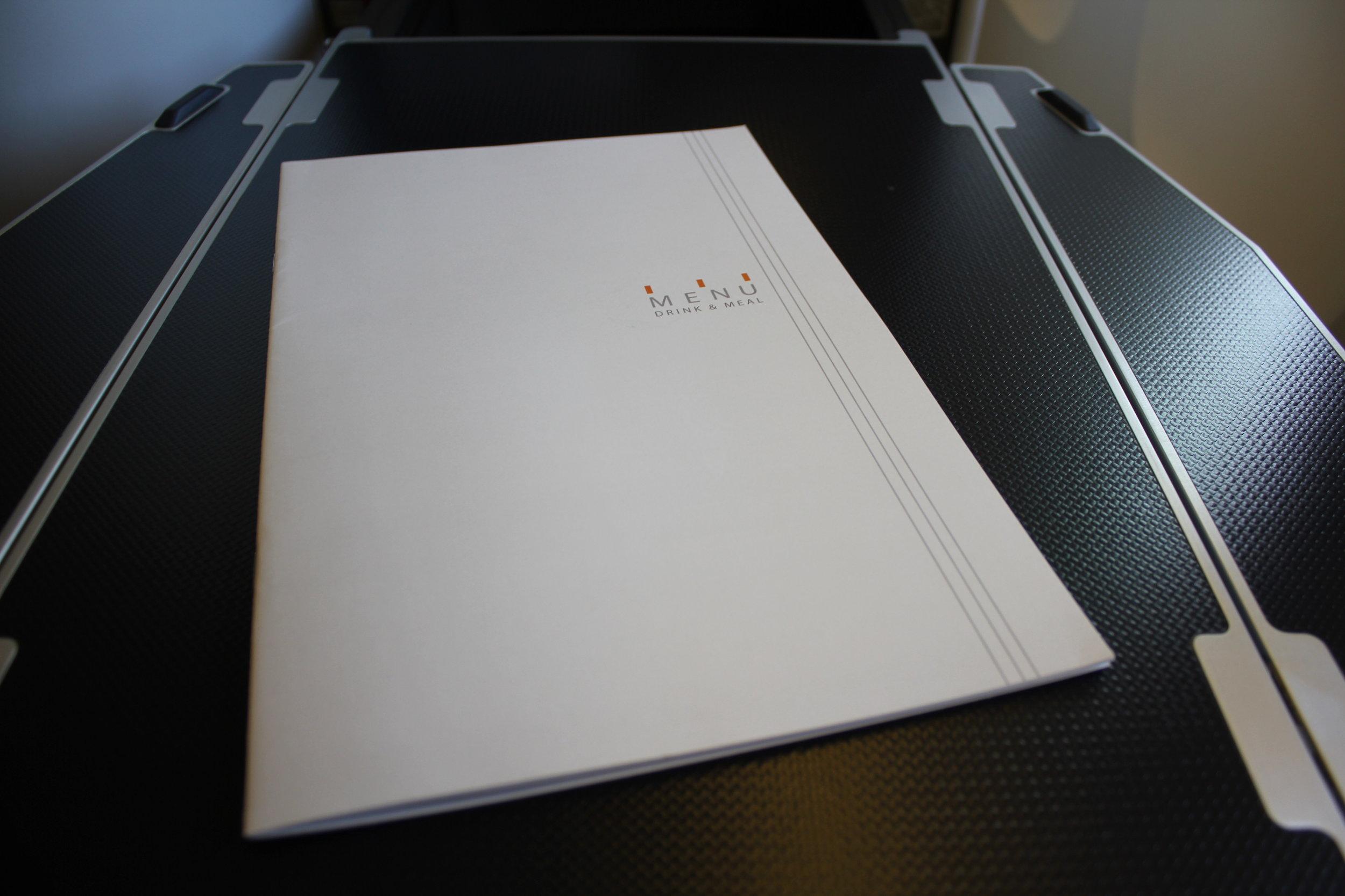 ANA 777 business class – Menu