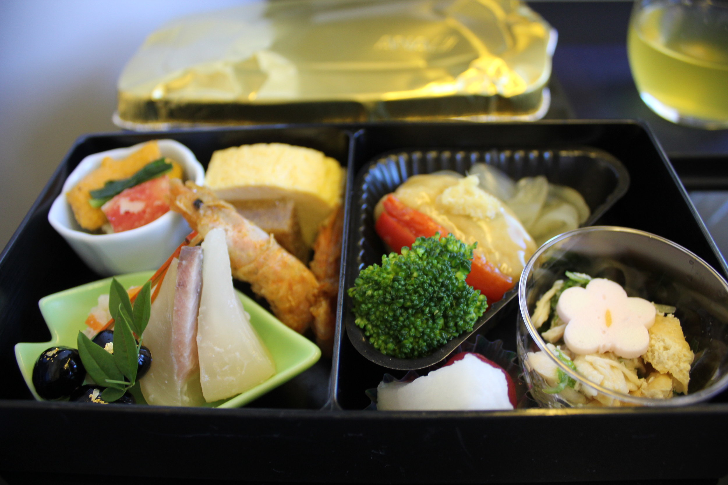 ANA 777 business class – Bento box with assorted delicacies