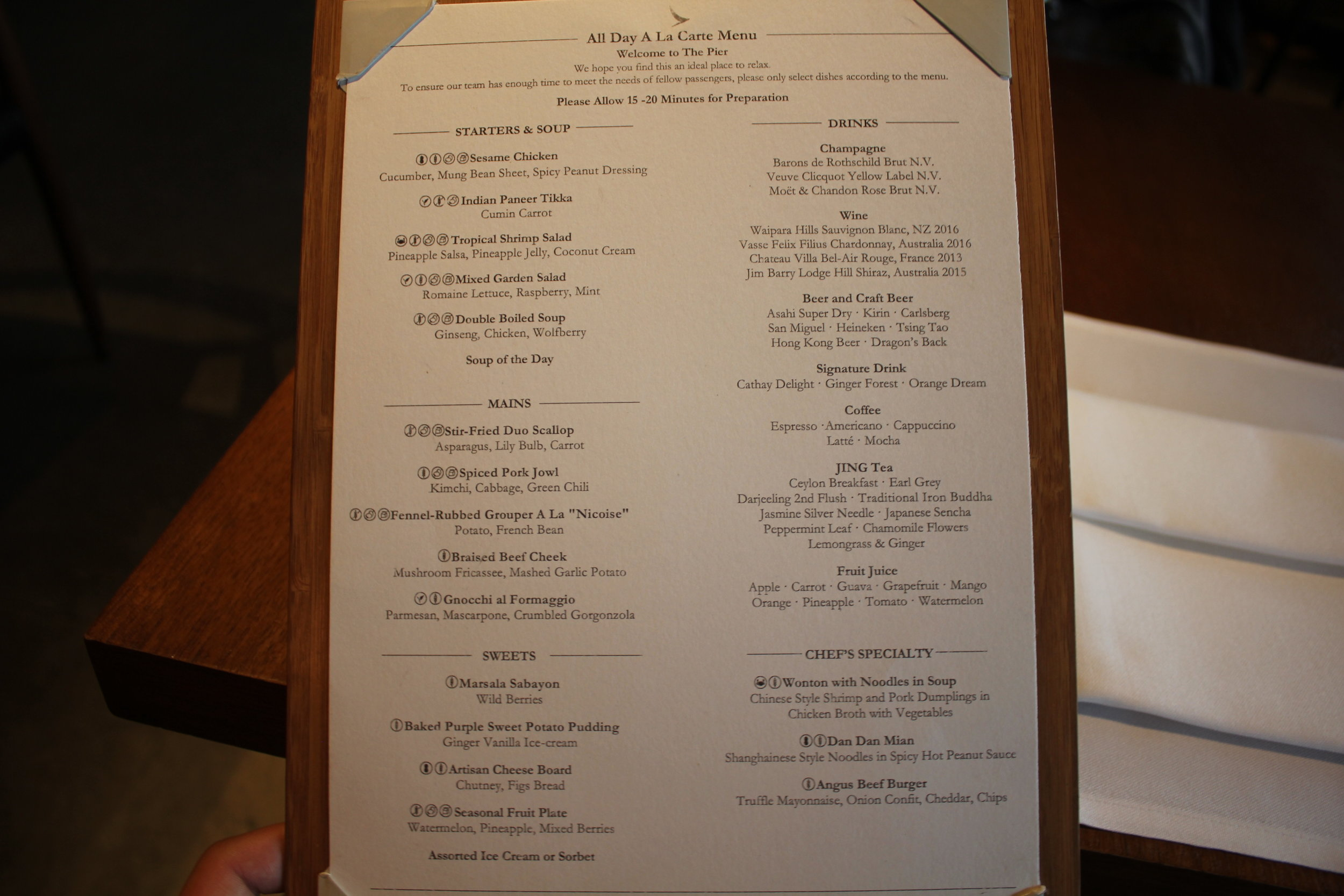 The Pier First Class Lounge by Cathay Pacific – The Dining Room menu