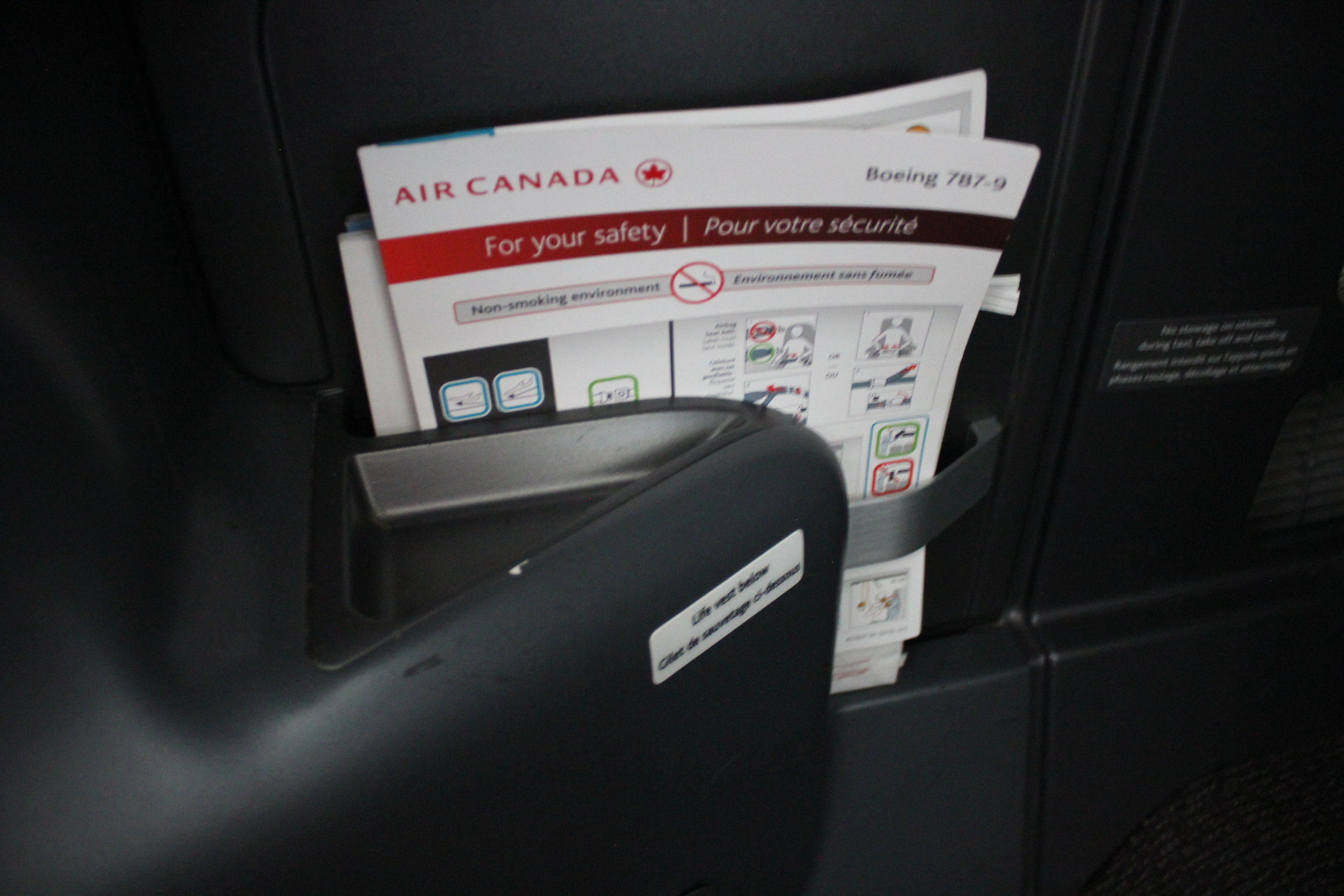 Air Canada business class – Literature pocket