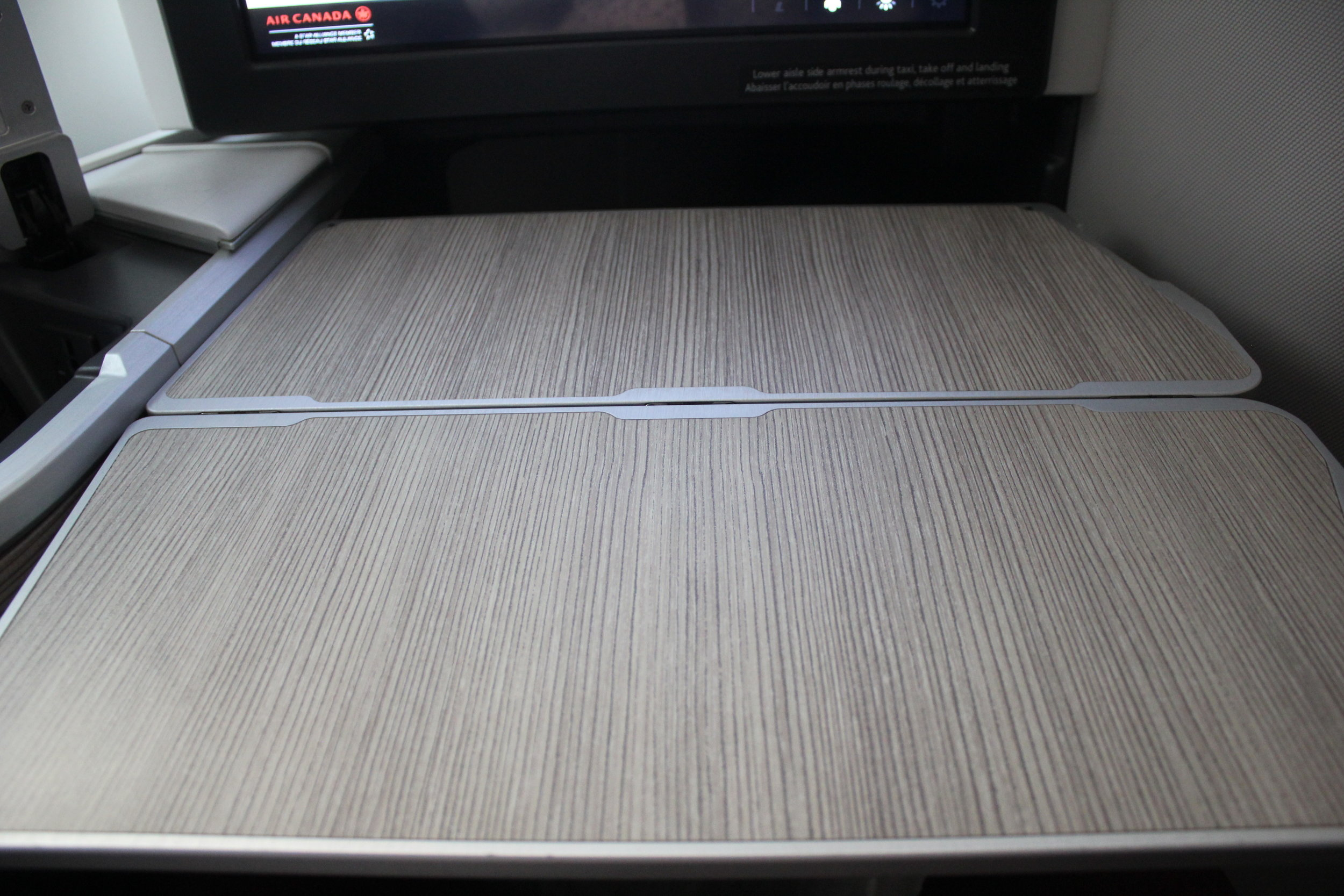 Air Canada business class – Tray table folded out
