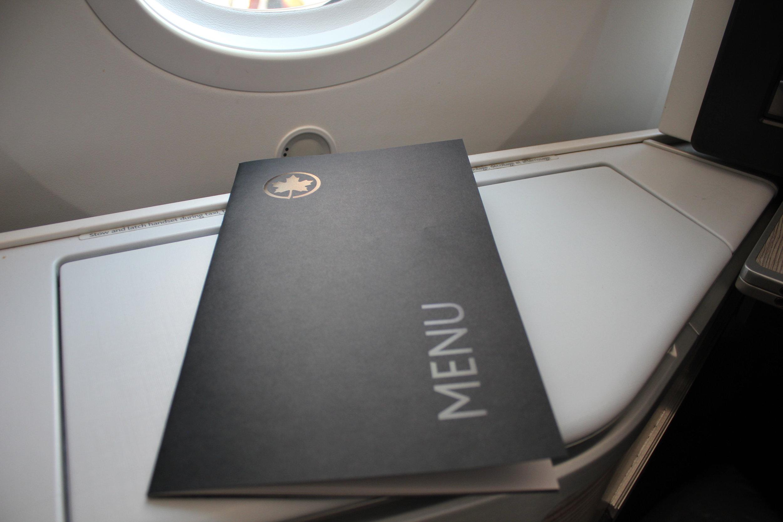 Air Canada business class – Menu