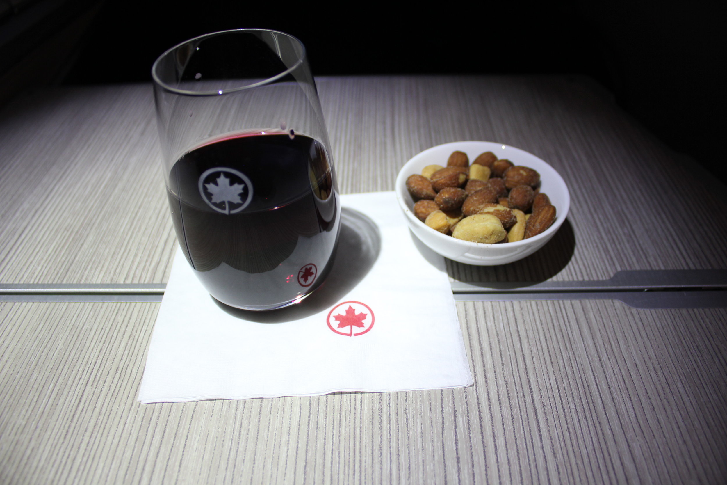 Air Canada business class – Wine and mixed nuts