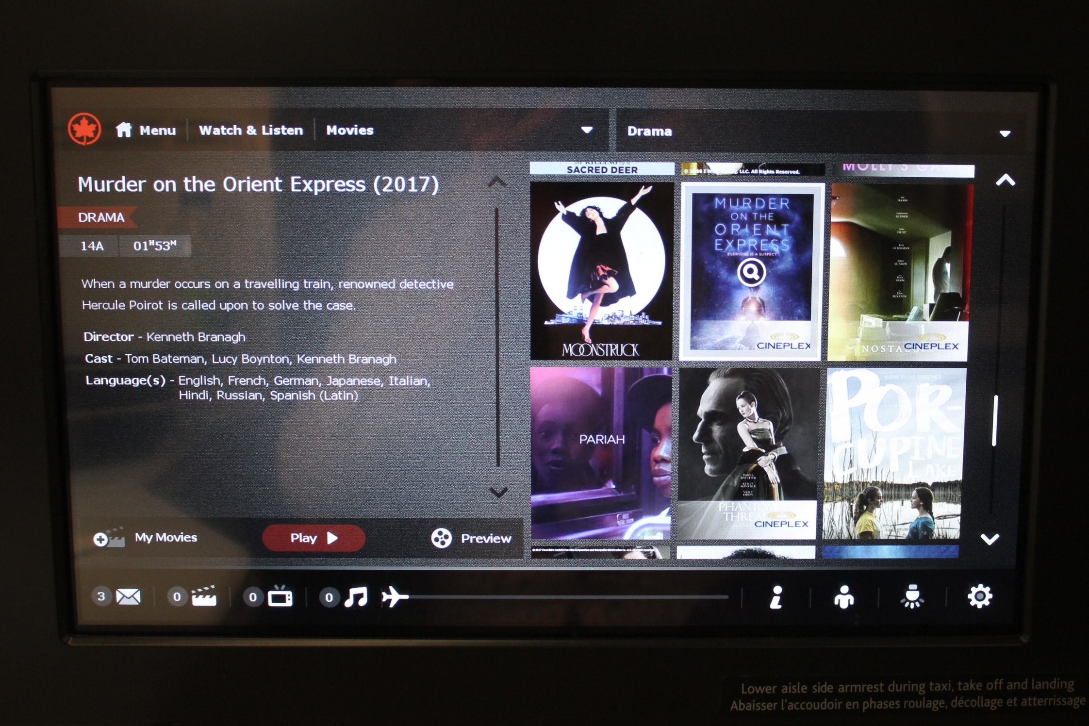 Air Canada business class – Movie selection
