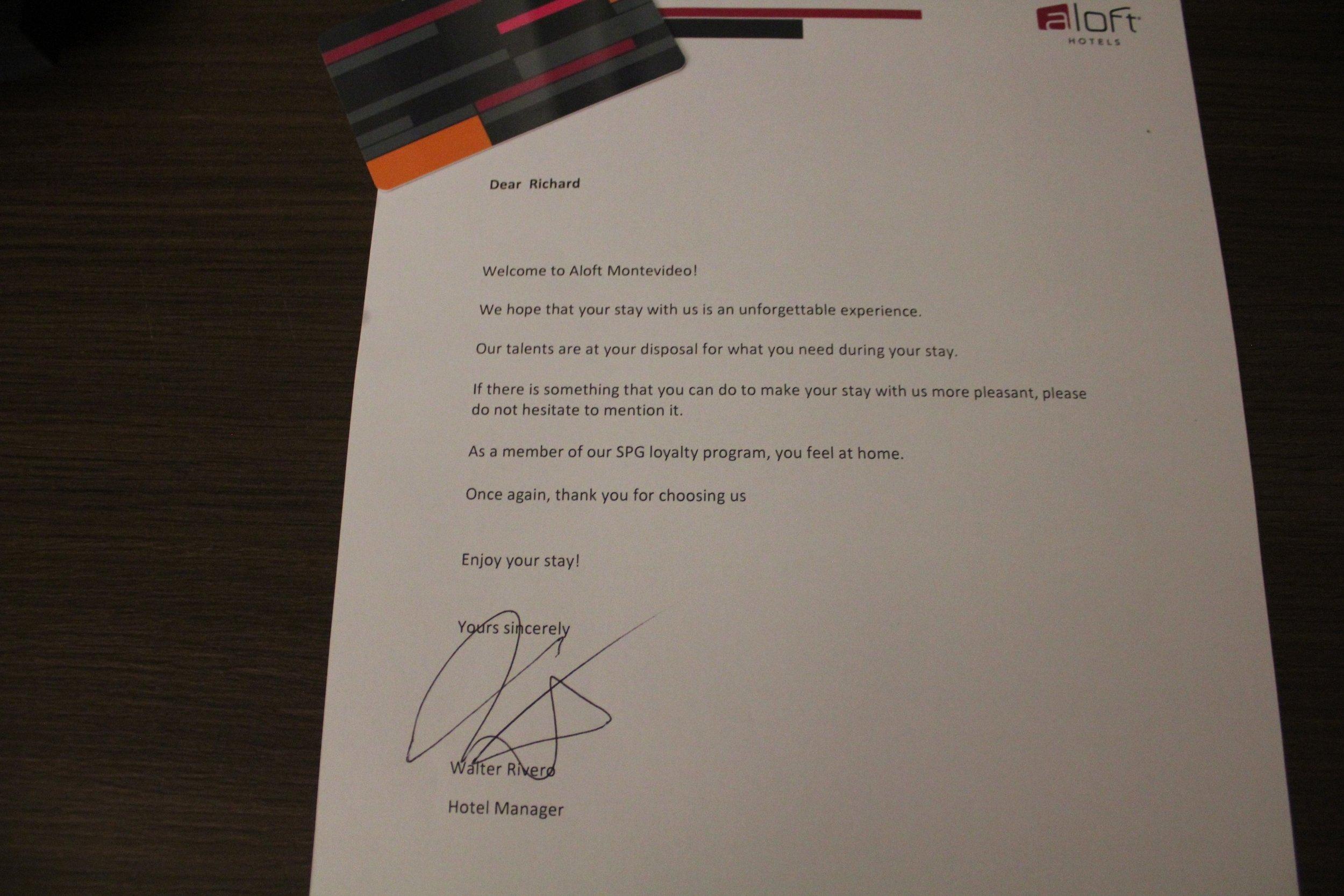 Aloft Montevideo – Welcome letter