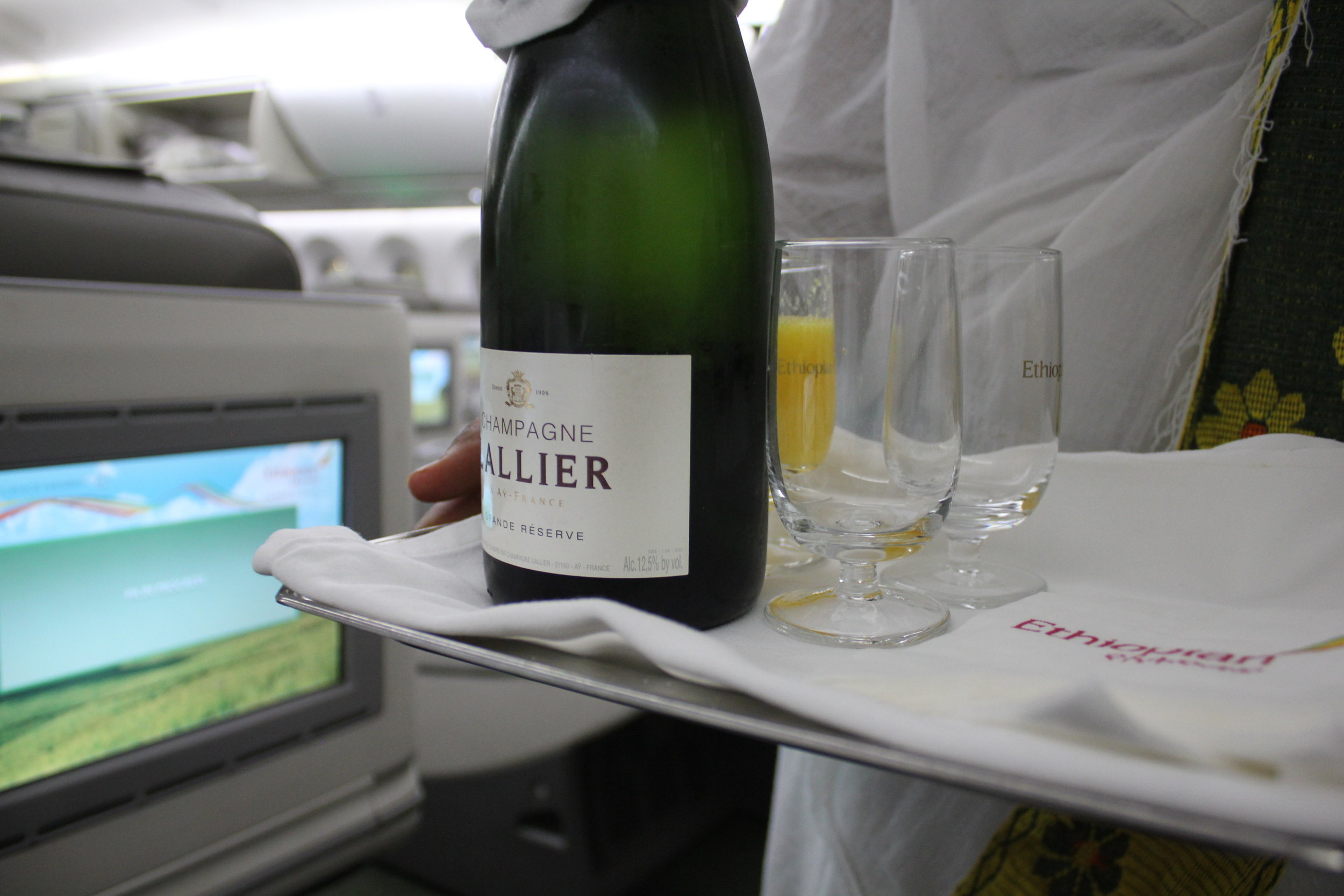 Ethiopian Airlines business class – Welcome champagne