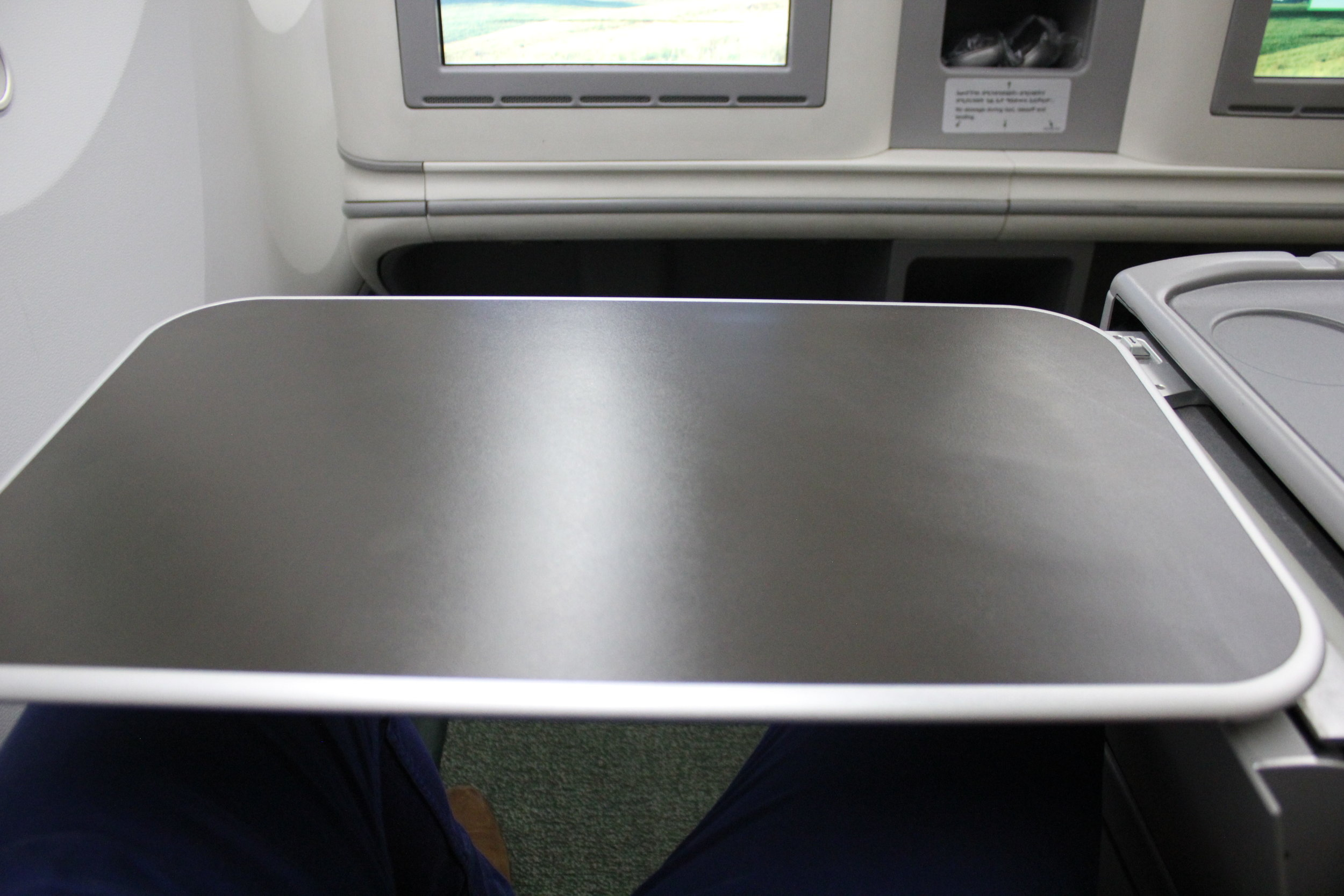 Ethiopian Airlines business class – Tray table
