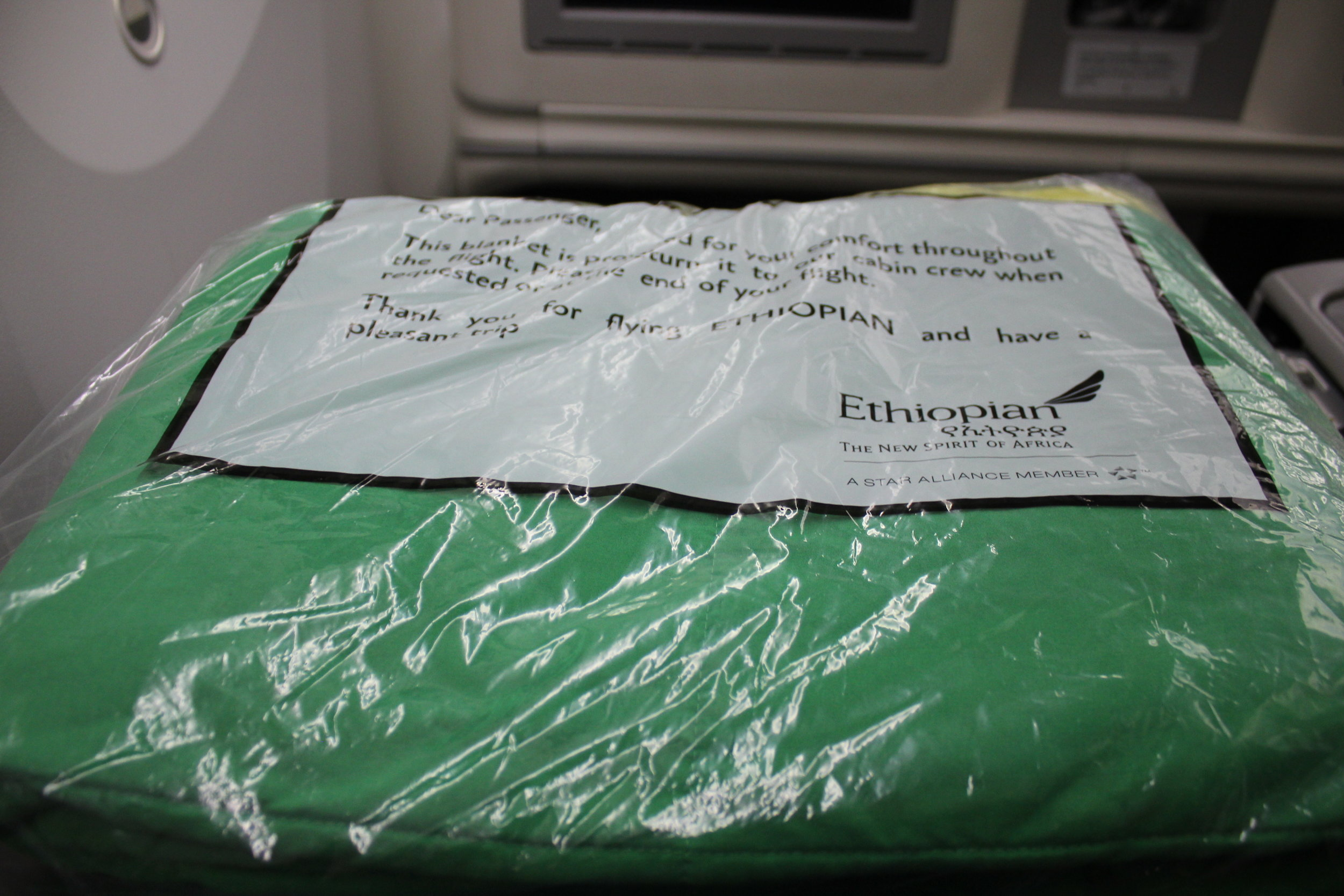 Ethiopian Airlines business class – Blanket