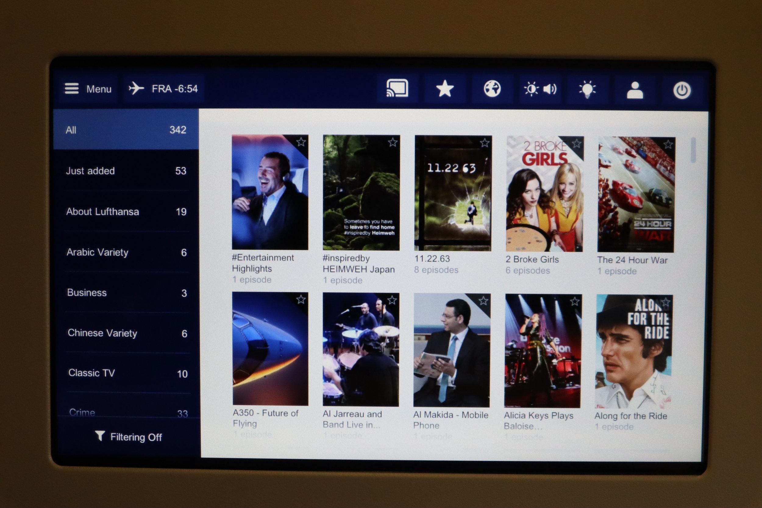 Lufthansa 747-400 business class – TV selection