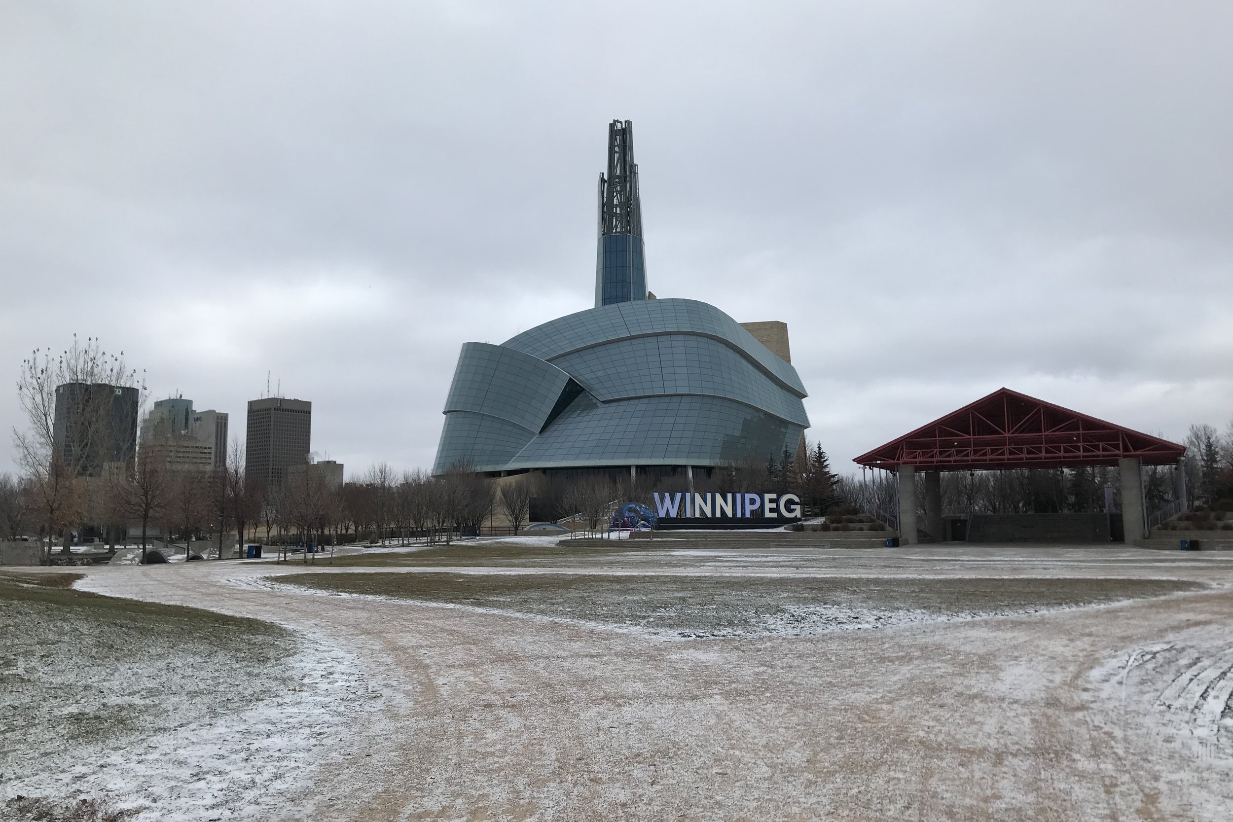 Winnipeg sign and the Canadian Human Rights Museum