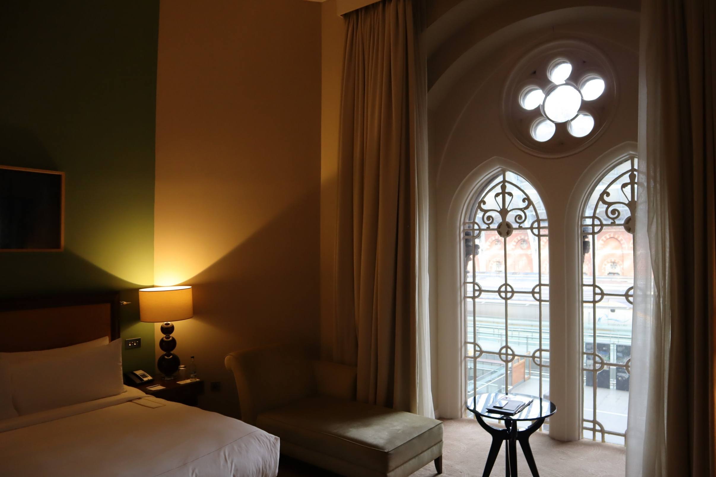 Larger Barlow room at the St. Pancras Renaissance London Hotel, with views of the Eurostar trains