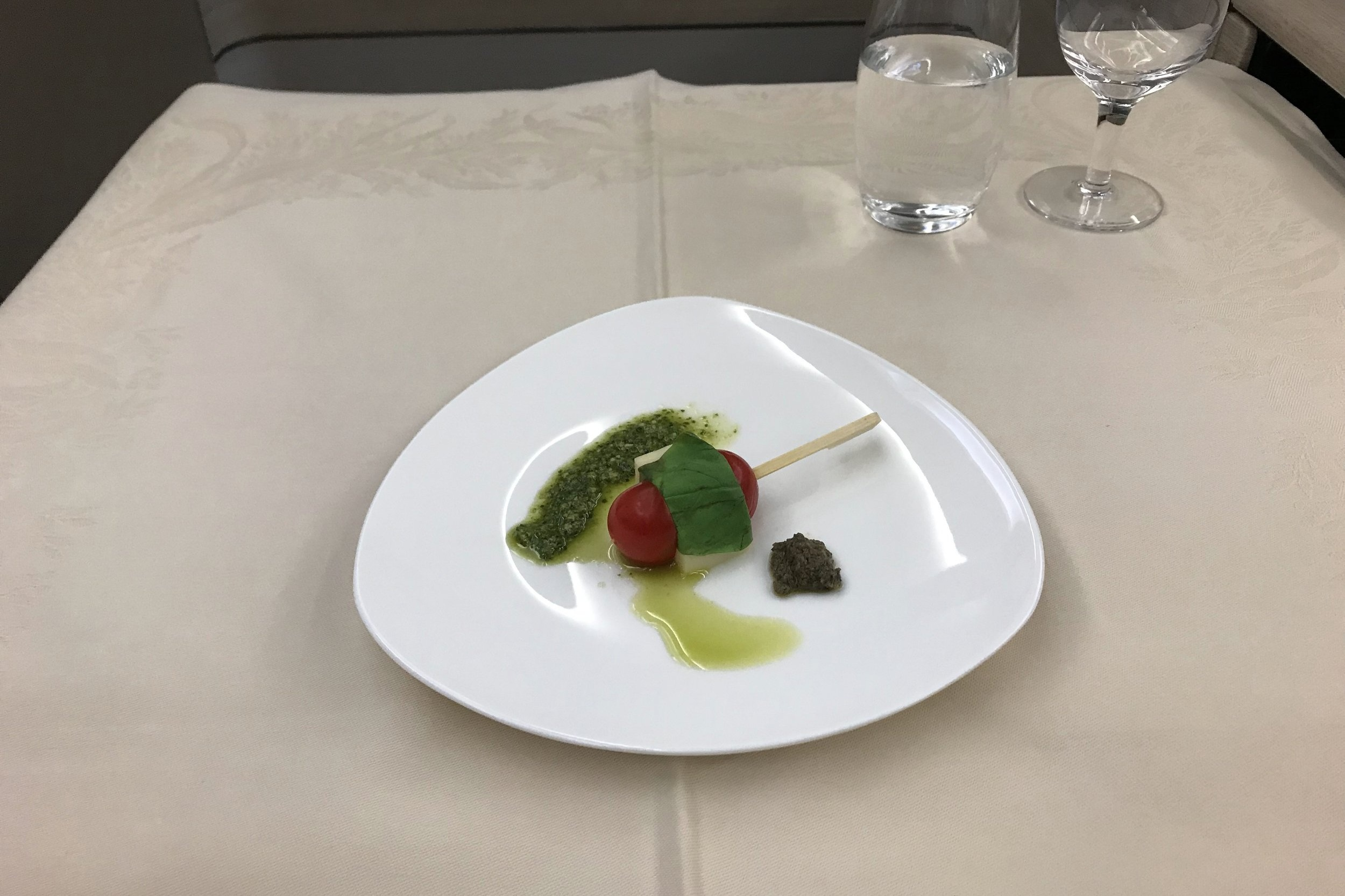 Asiana Airlines First Class – Mozzarella-and-cherry-tomato skewer