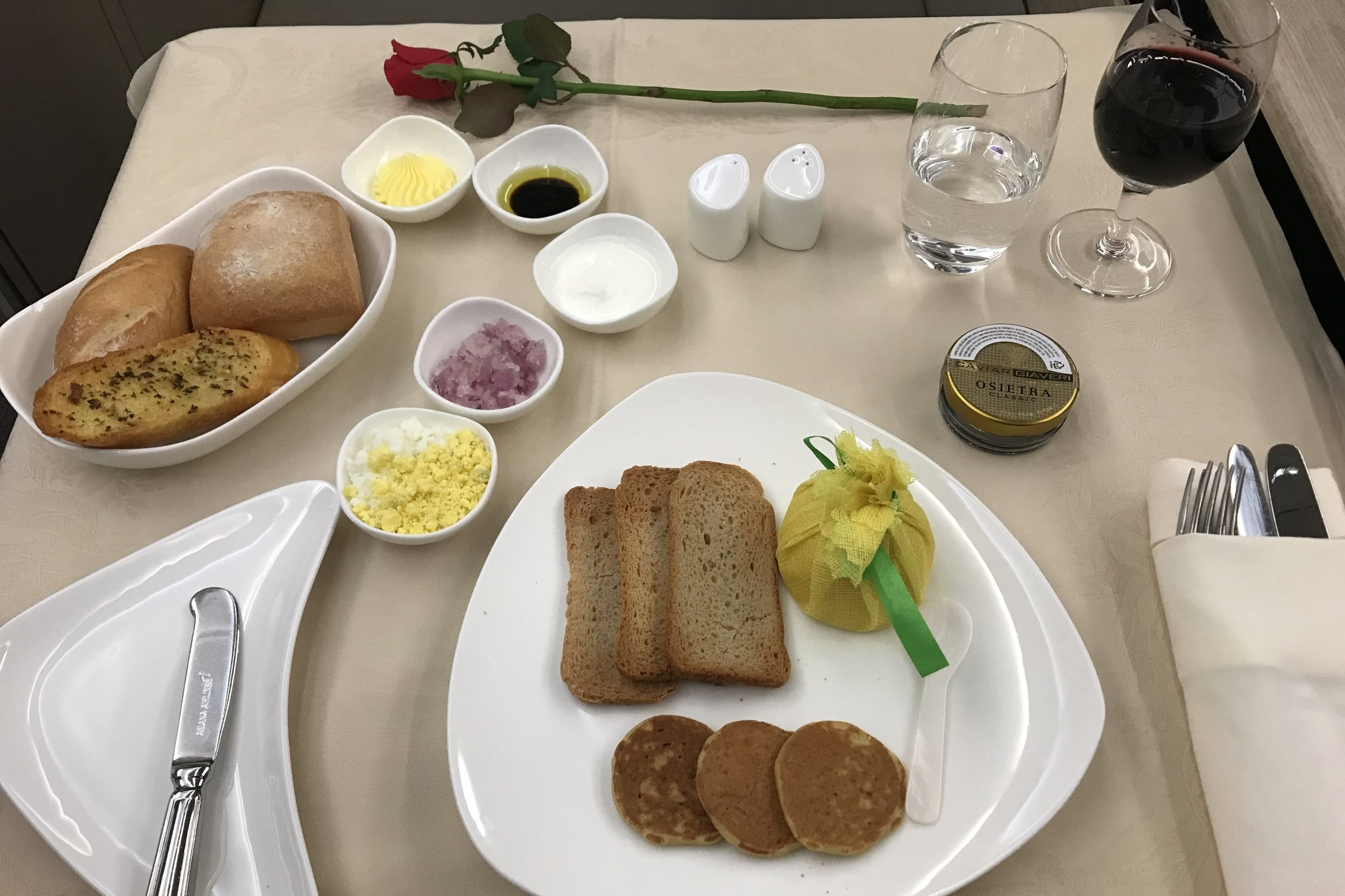 Asiana Airlines First Class – Caviar presentation
