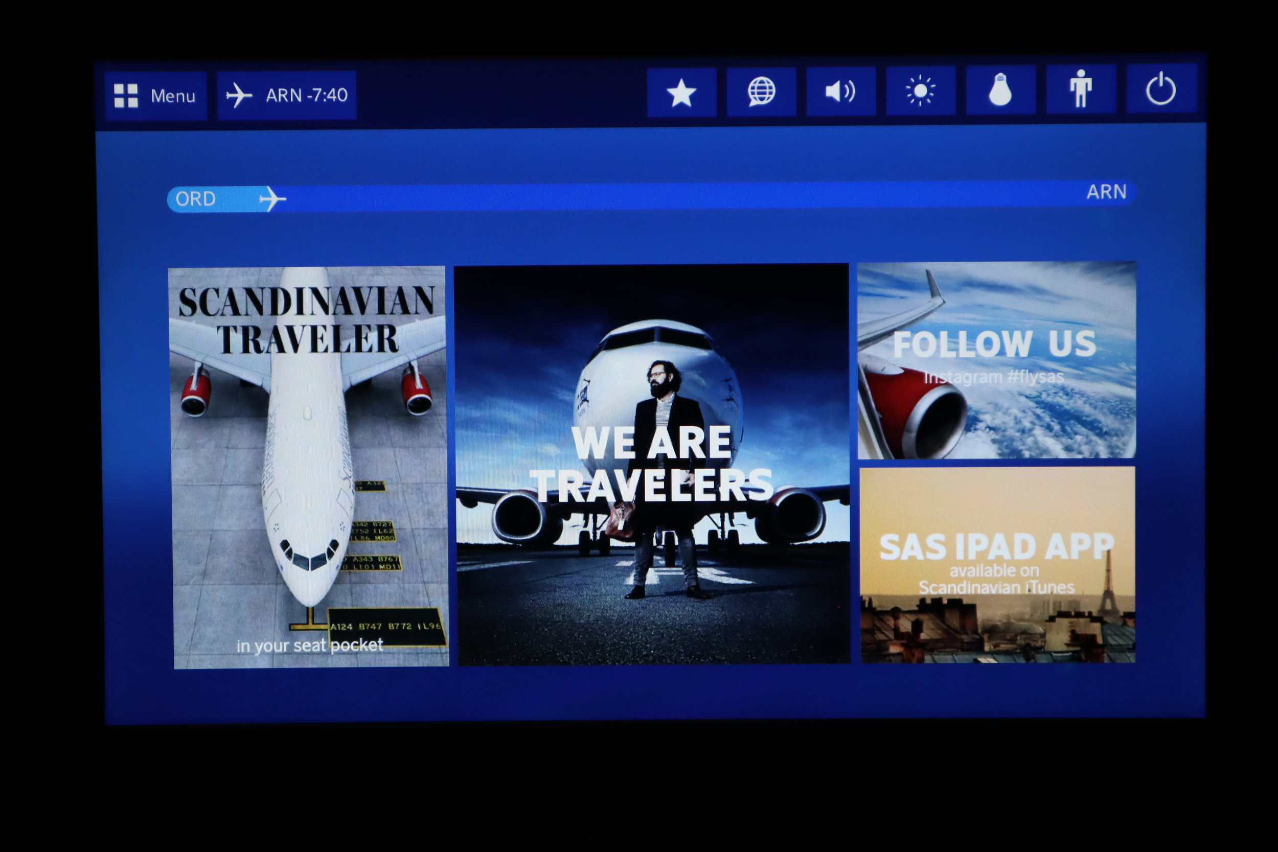 SAS business class – In-flight entertainment system