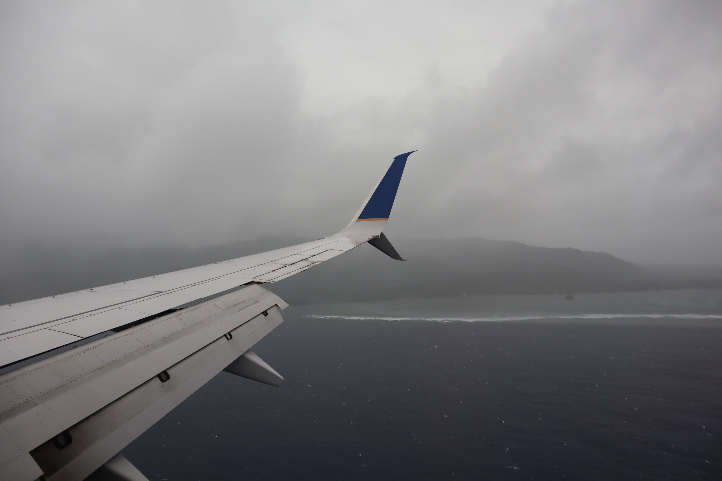 Bad weather on approach to Kosrae