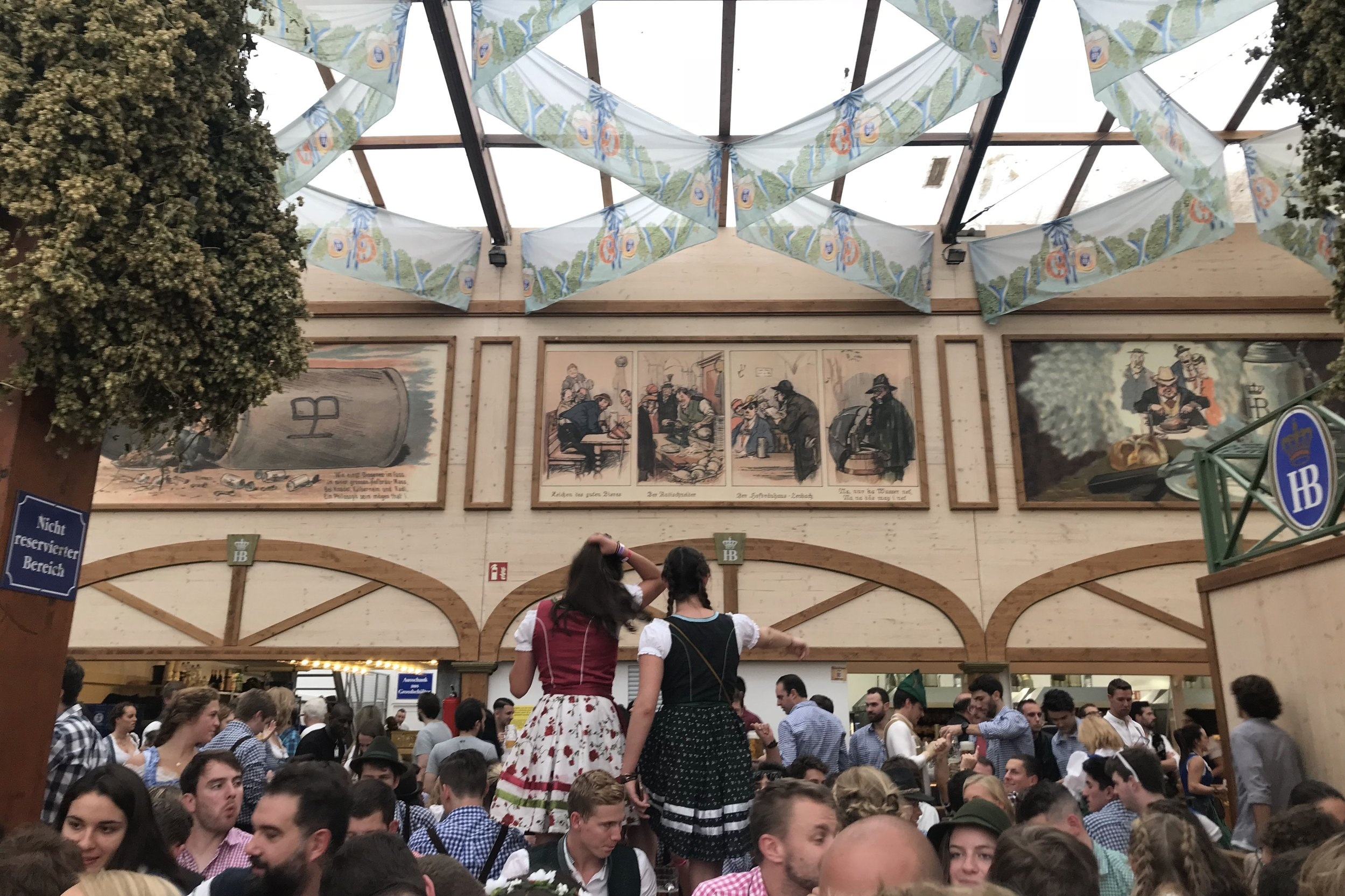 In the midst of the action in the Hofbräu Tent