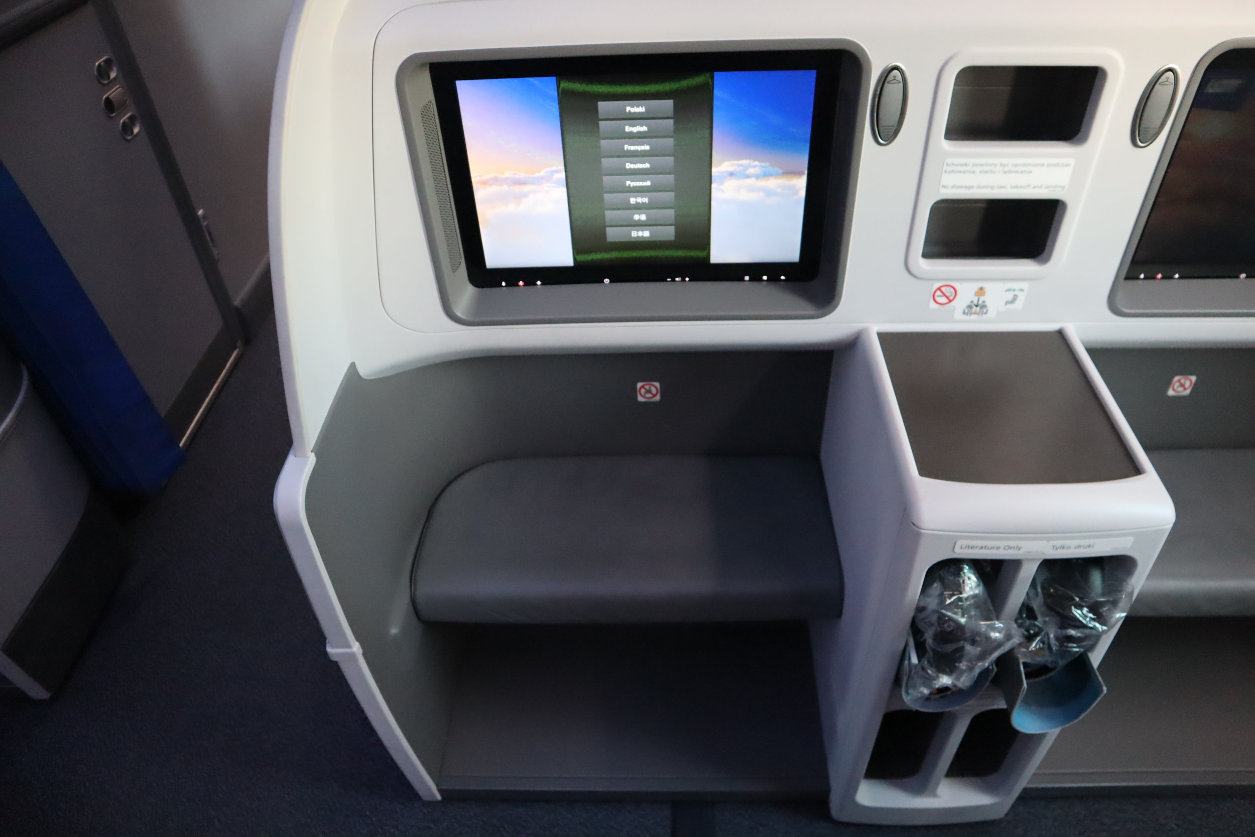 LOT Polish Airlines business class – Entertainment monitor