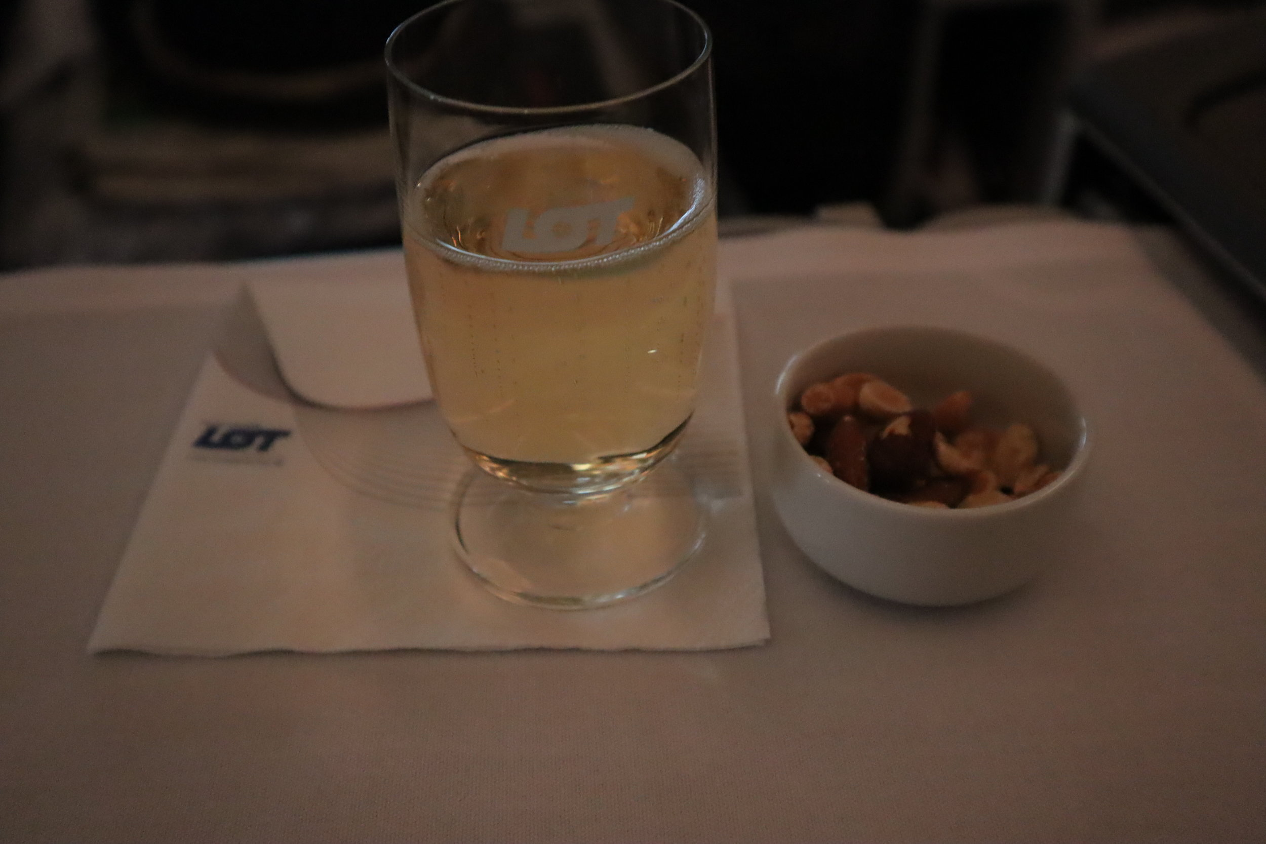 LOT Polish Airlines business class – Mixed nuts and champagne