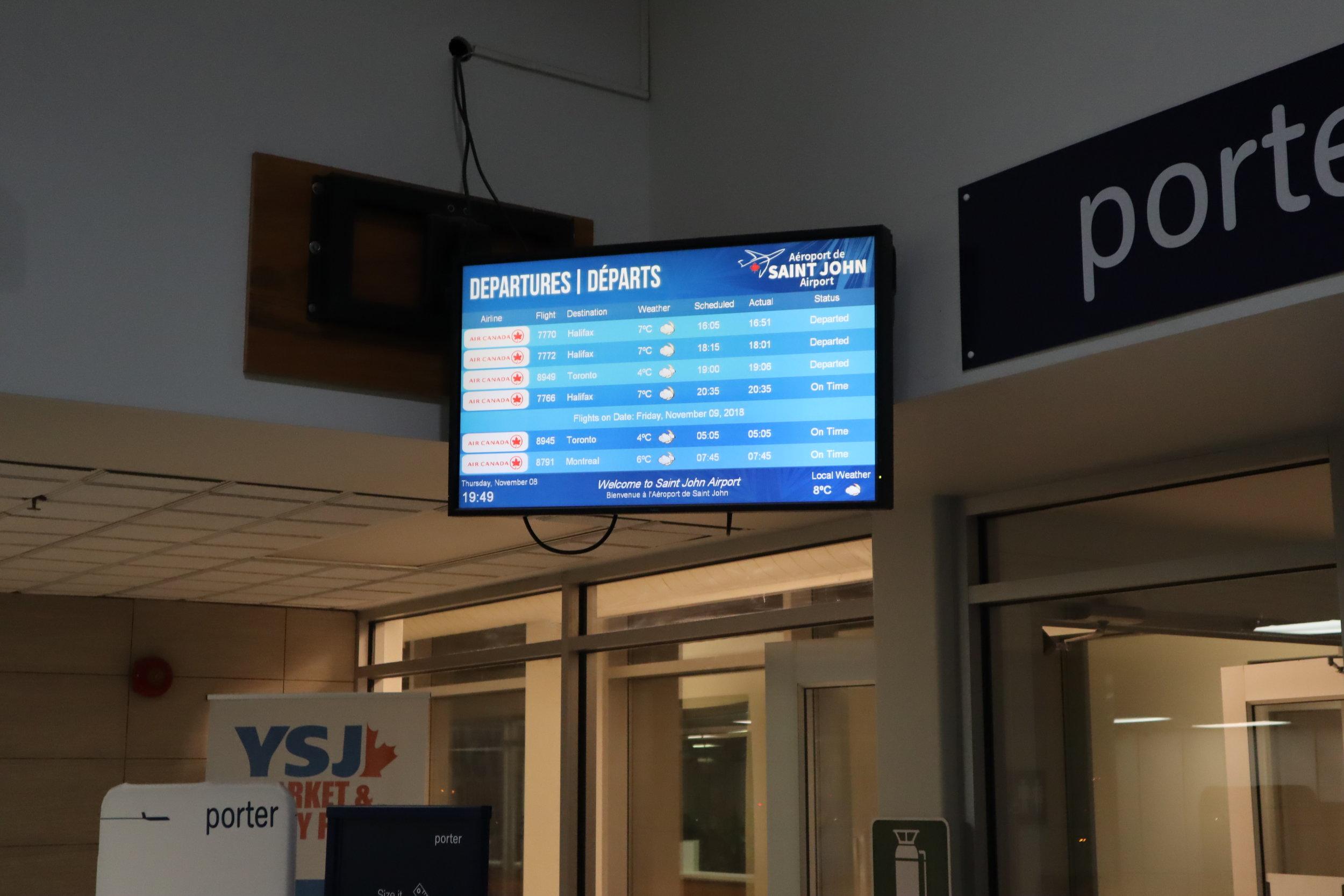 Saint John Airport – Departures board