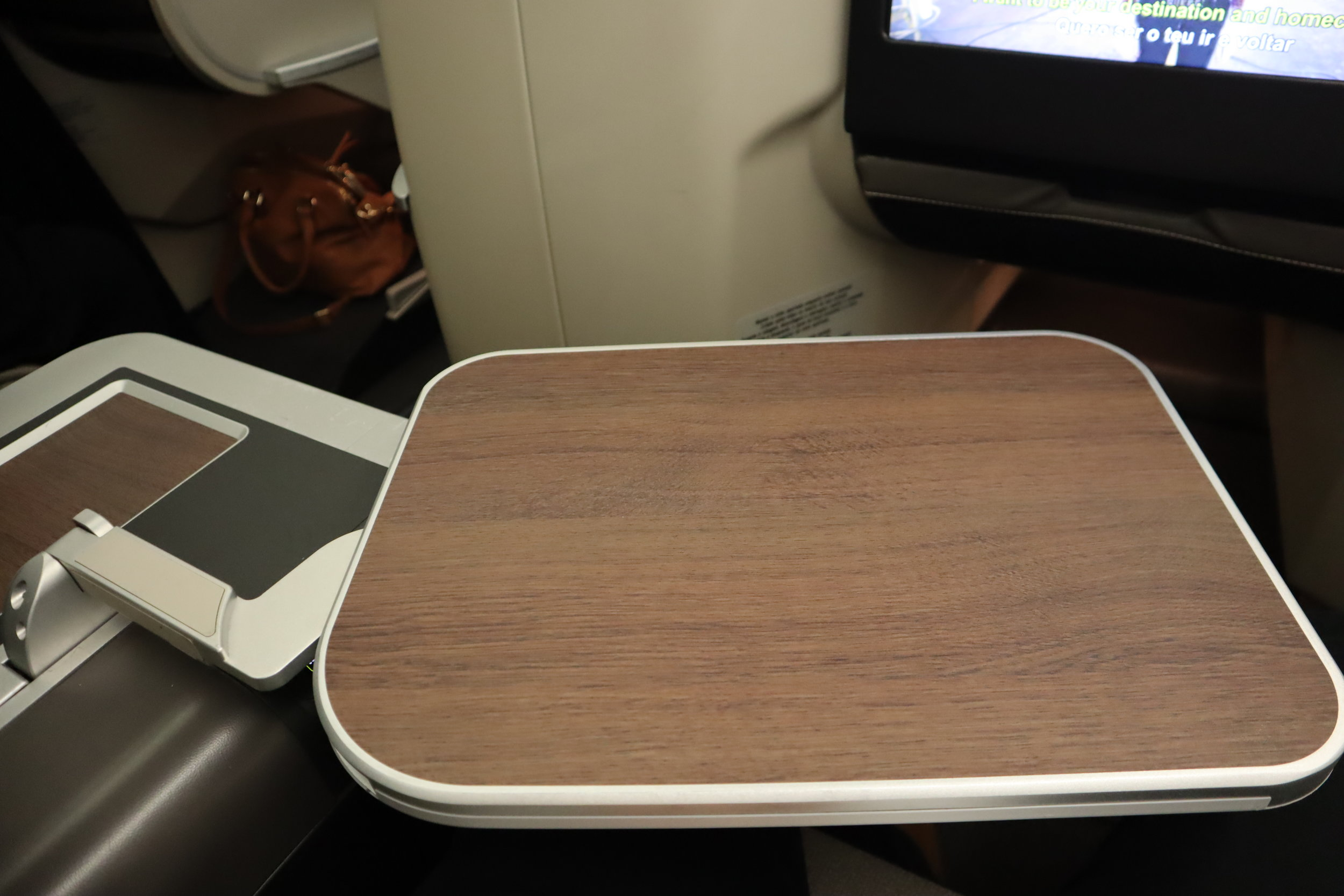 TAP Air Portugal business class – Tray table