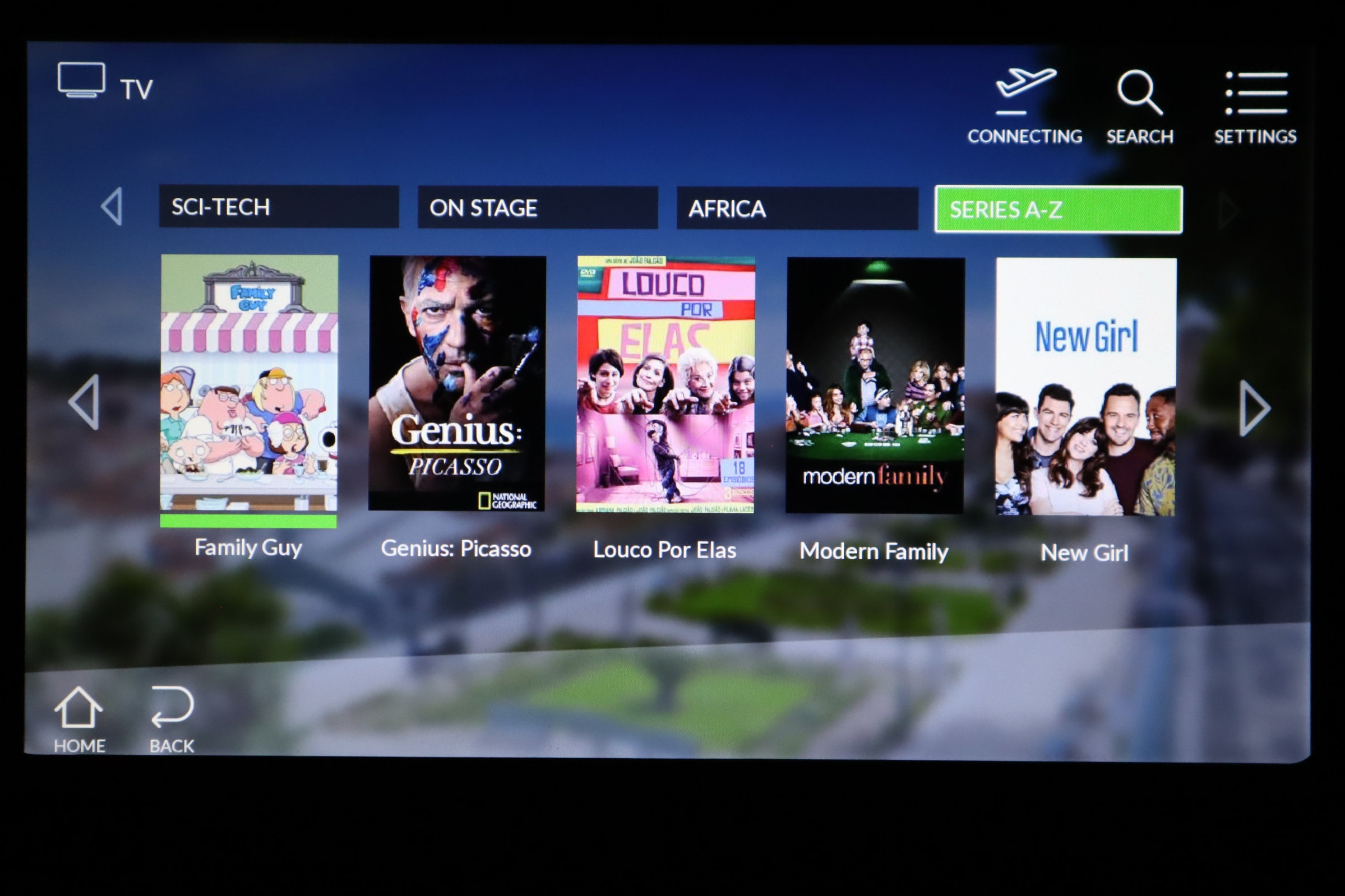 TAP Air Portugal business class – TV selection