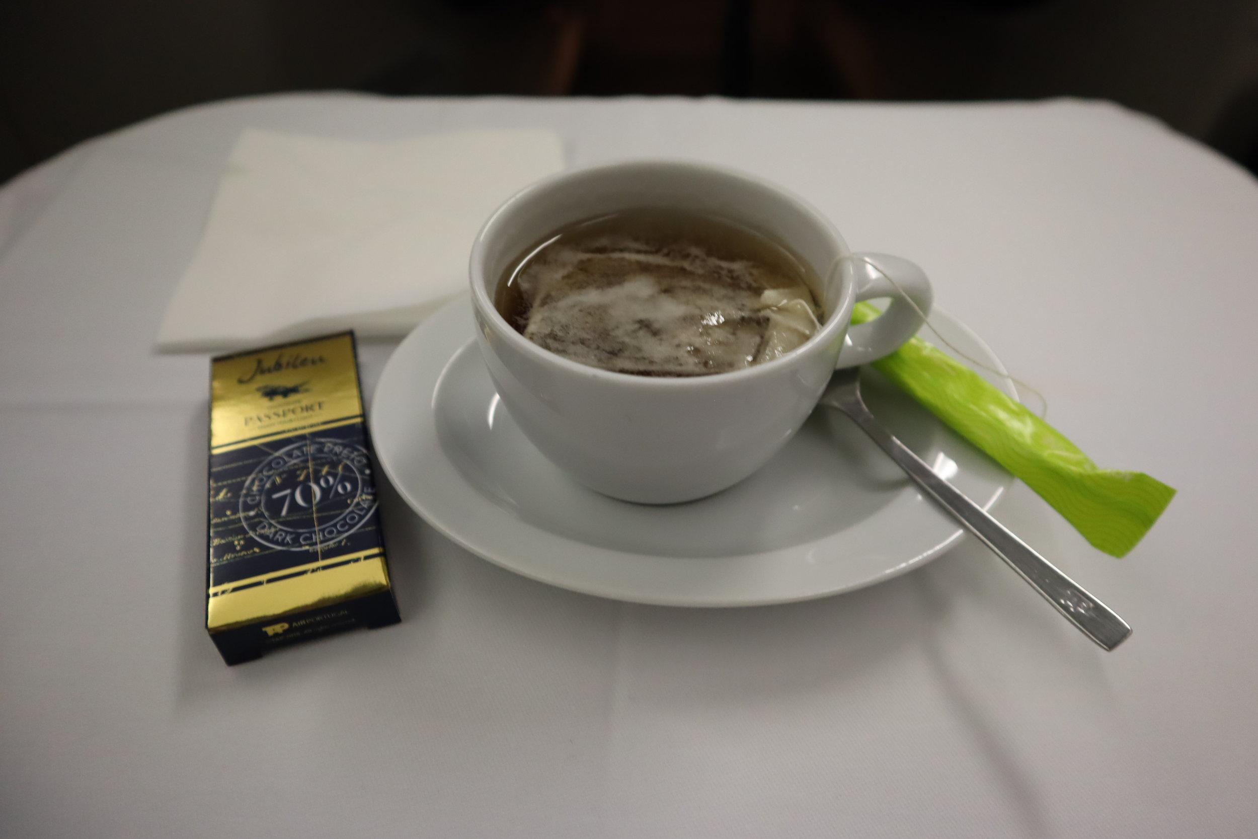 TAP Air Portugal business class – Green tea