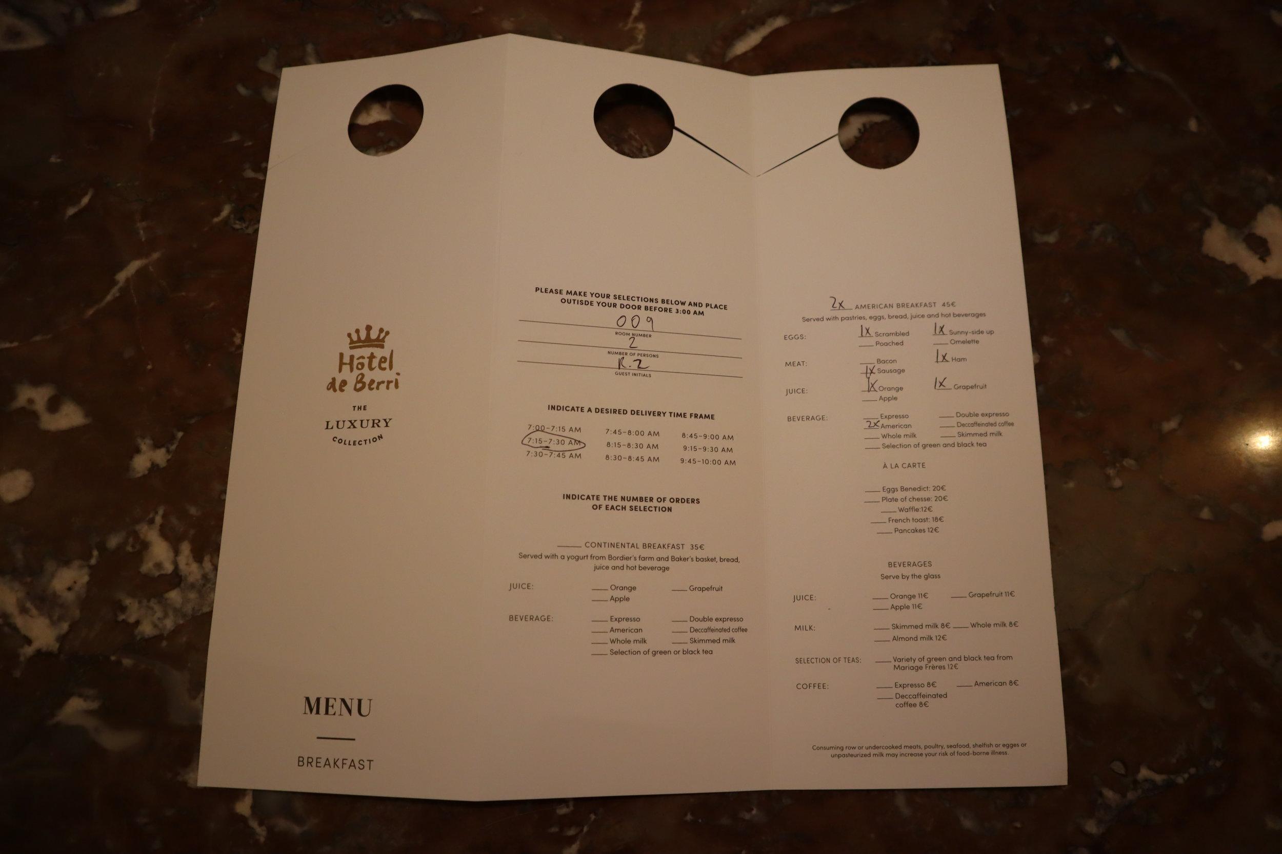 Hôtel de Berri Paris – In-room breakfast card