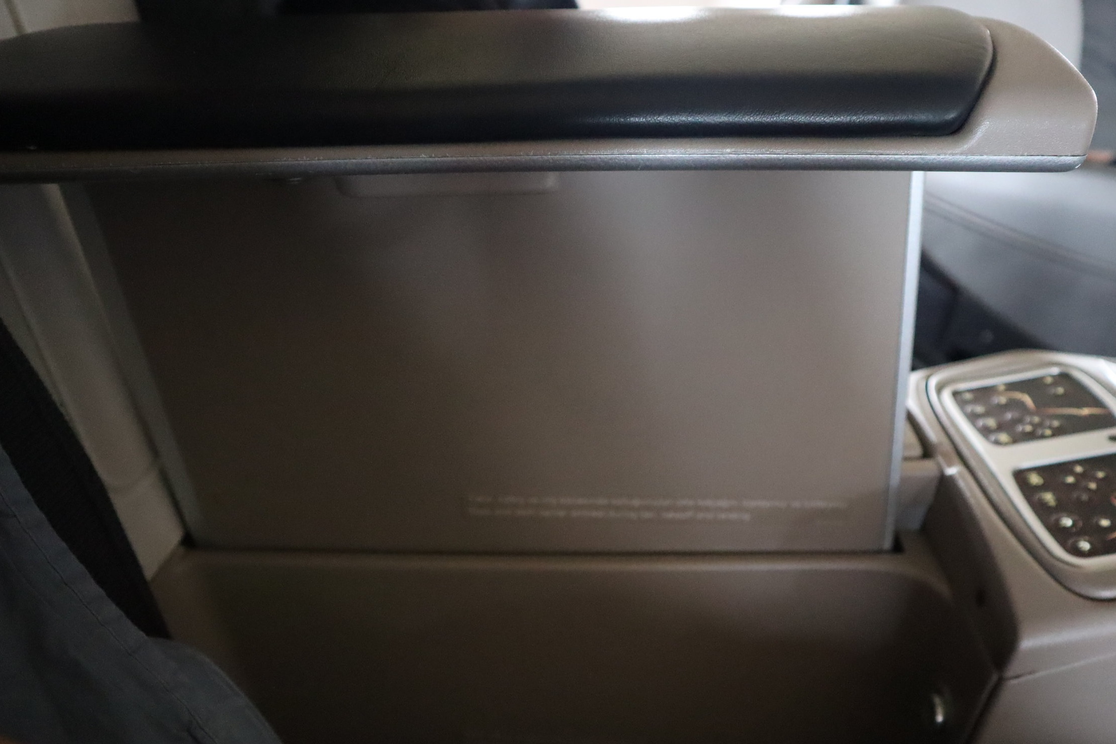 Turkish Airlines A330 business class – Raised armrest