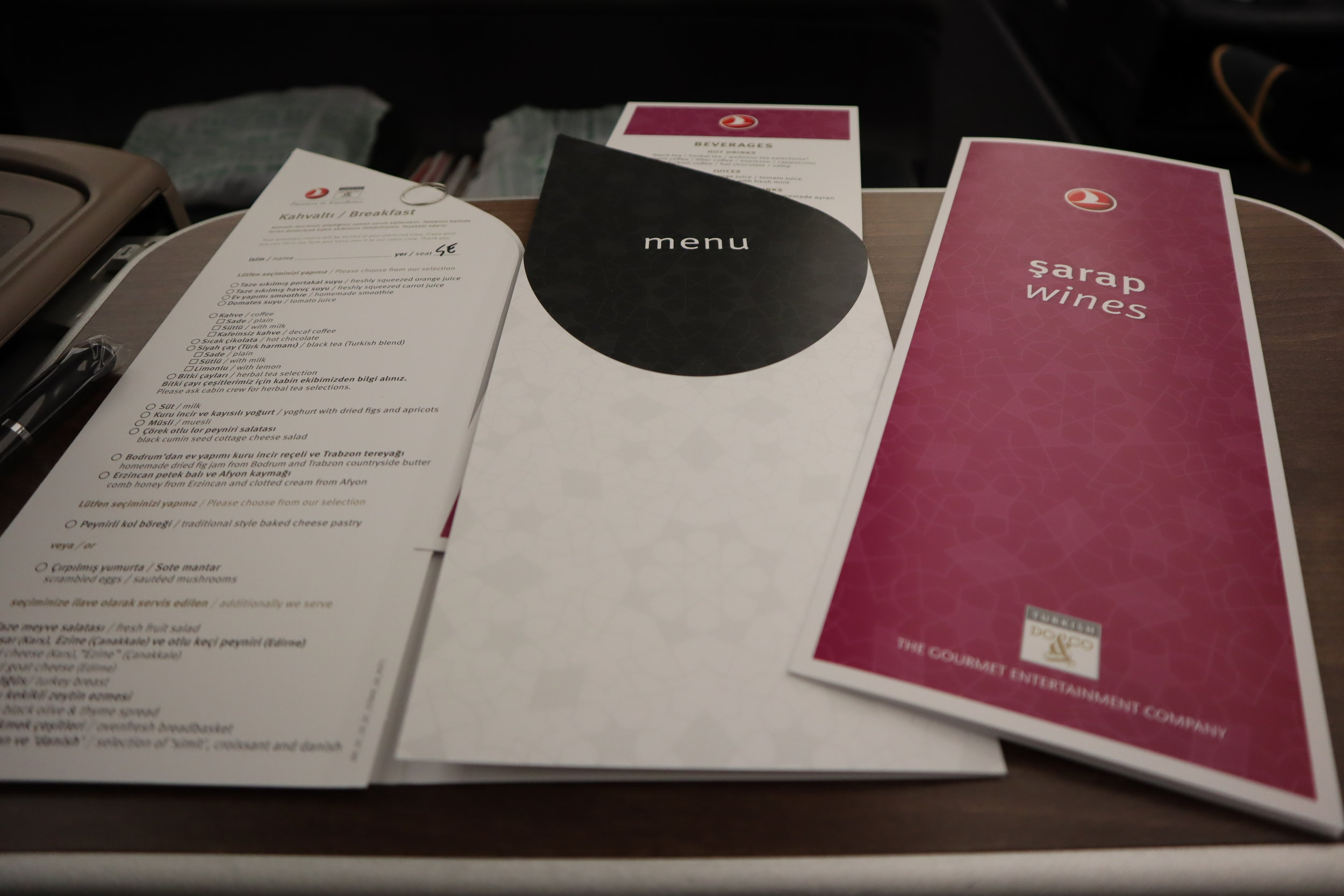 Turkish Airlines A330 business class – Menus