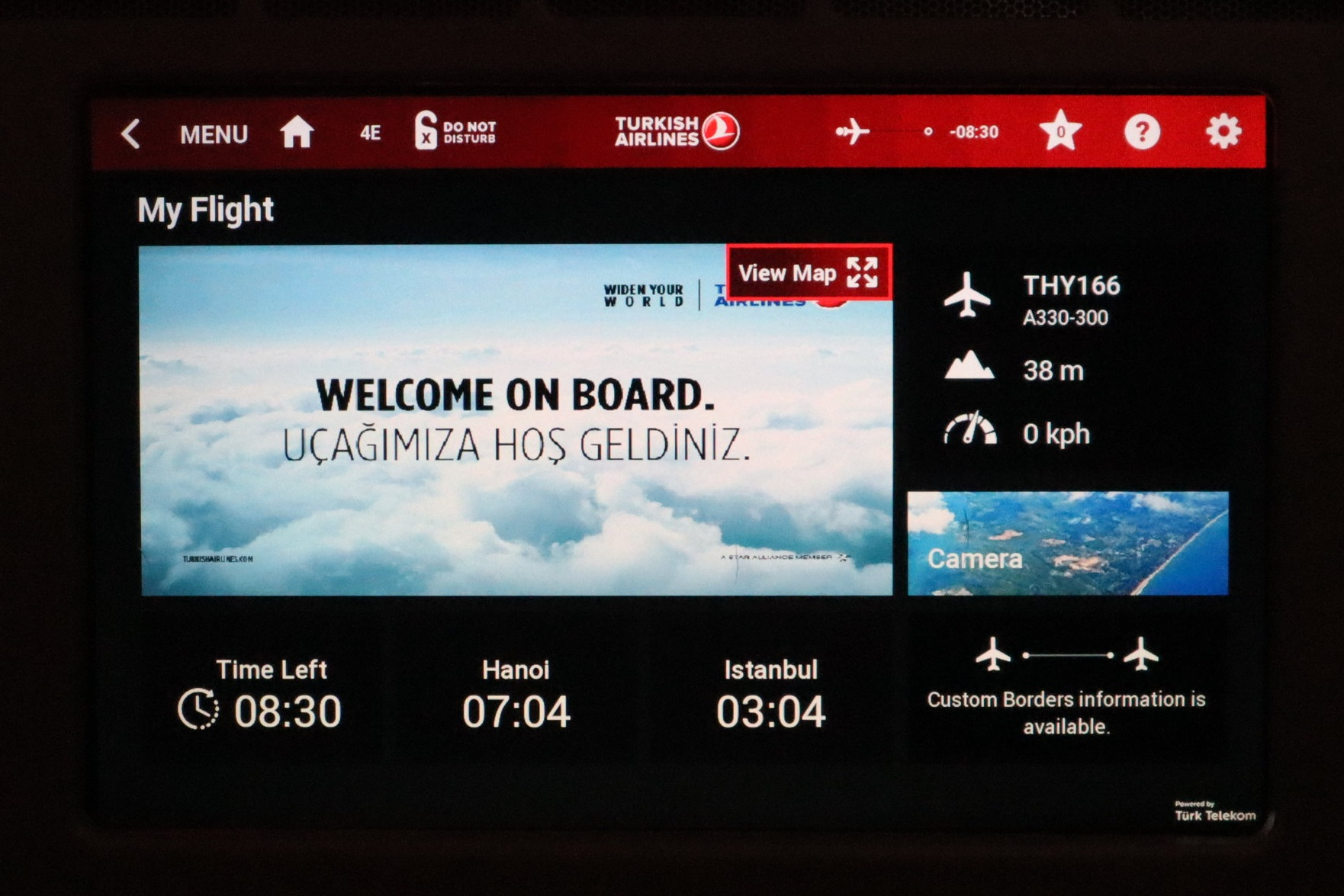 Turkish Airlines A330 business class – Entertainment system