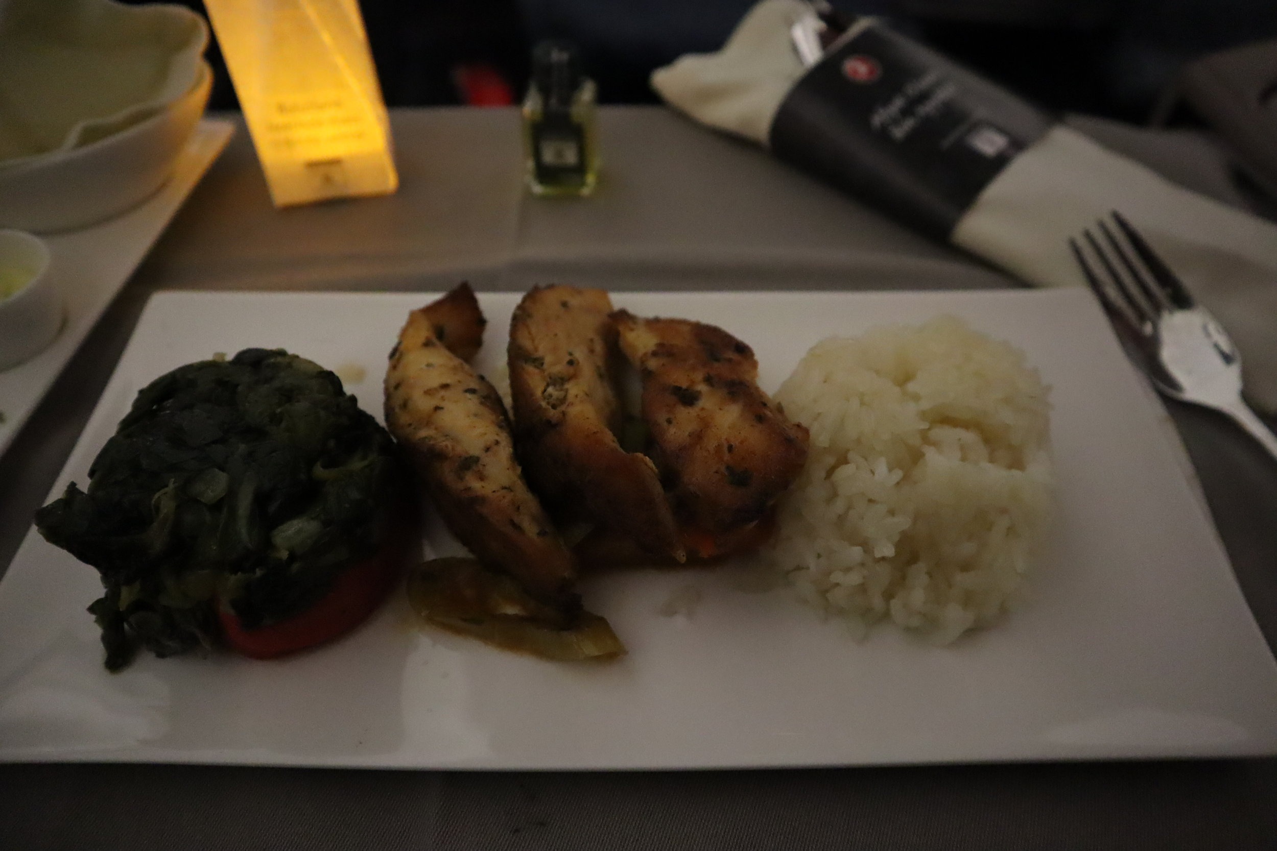 Turkish Airlines A330 business class – Herb-grilled baby chicken