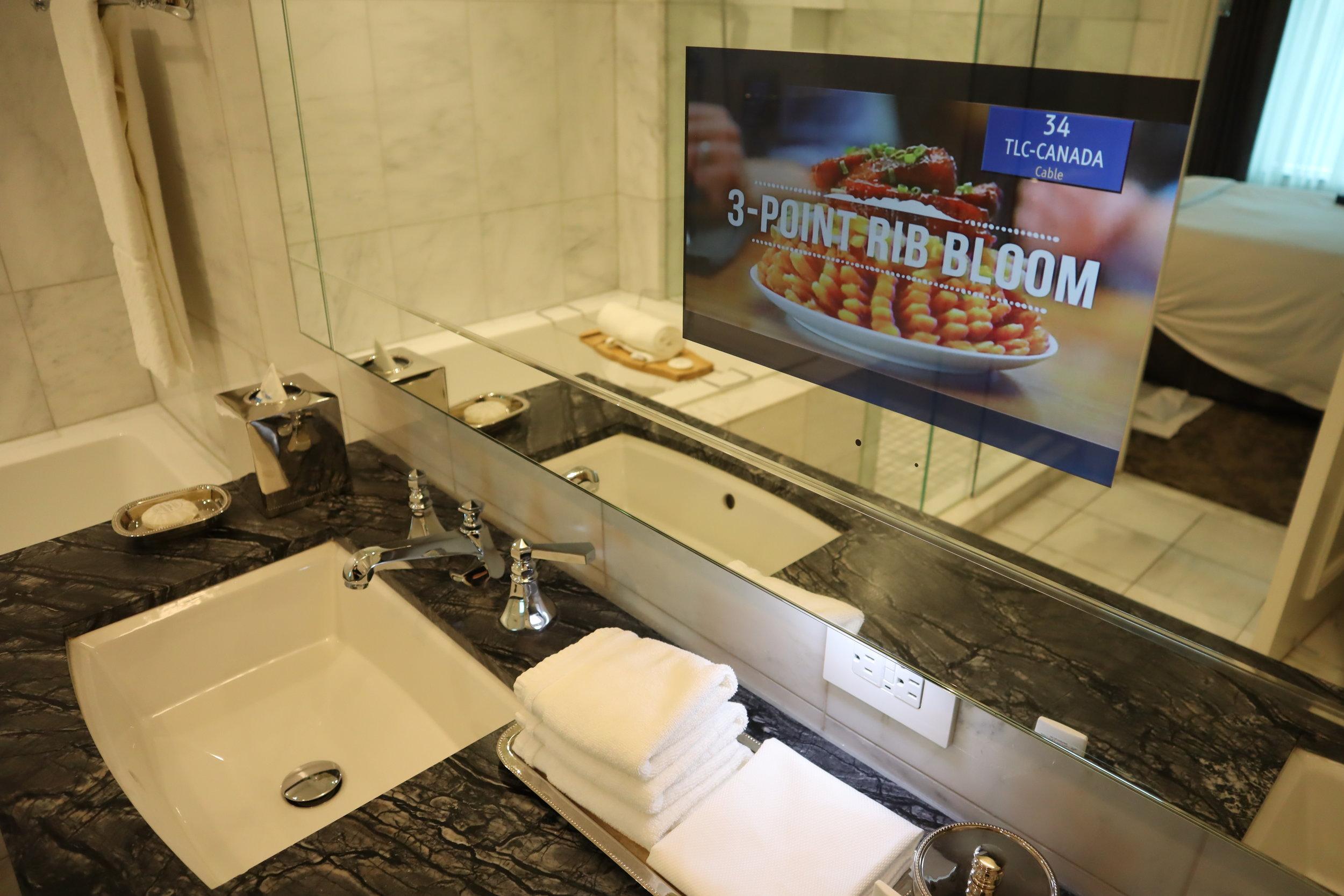 St. Regis Toronto – Two-bedroom suite master bathroom television
