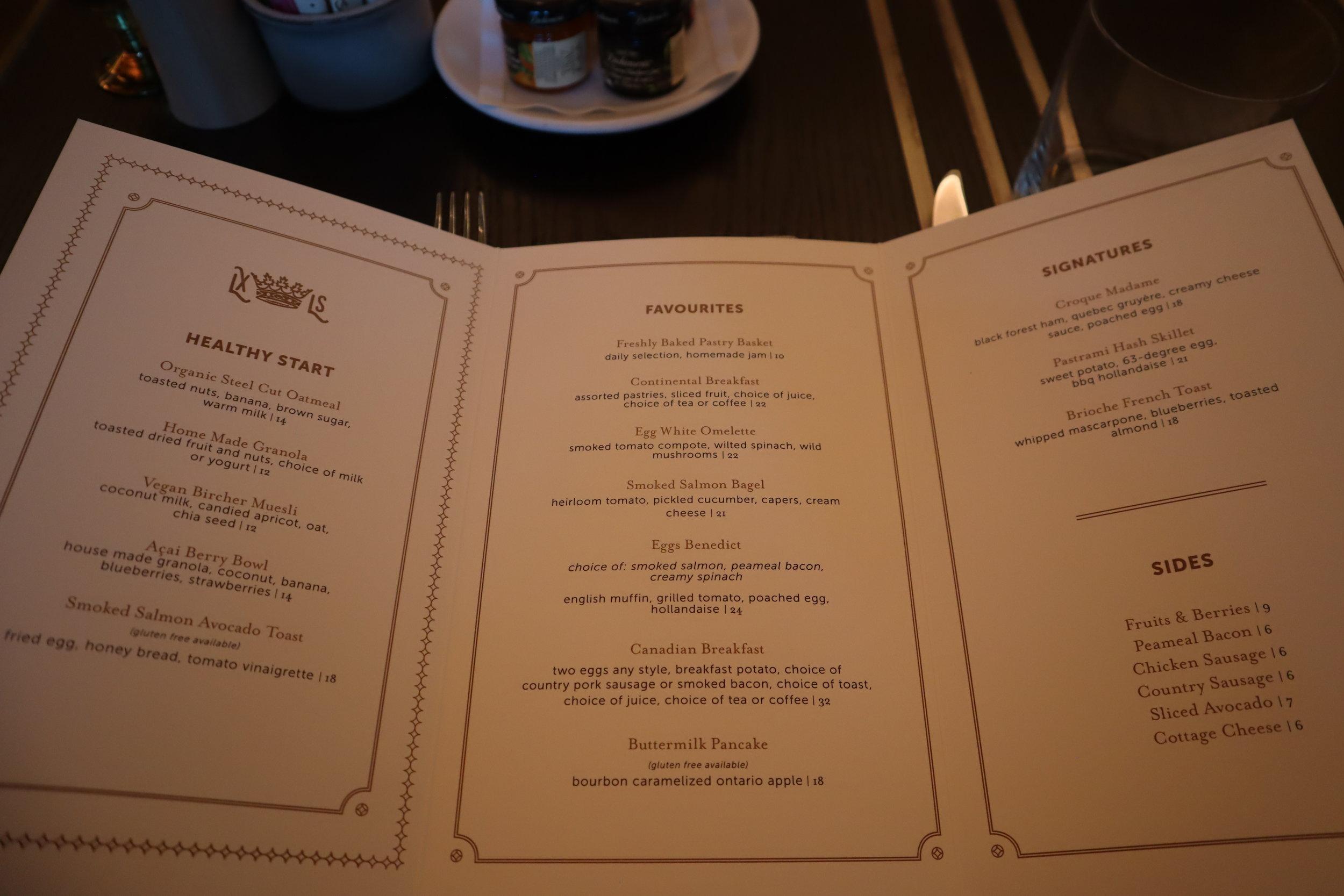 St. Regis Toronto – Louix Louis restaurant breakfast menu